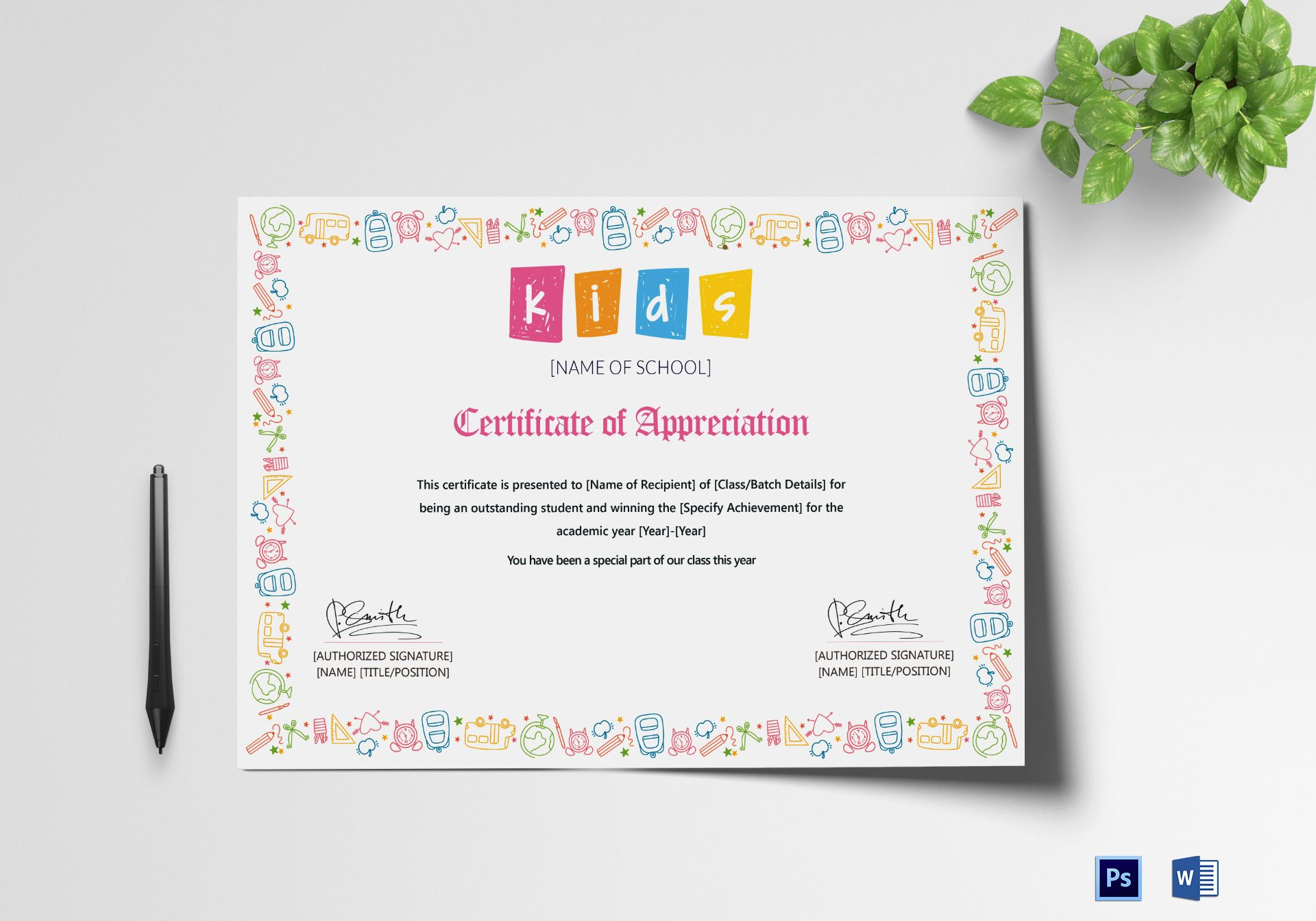 Outstanding student appreciation certificate design for Student certificate templates for word