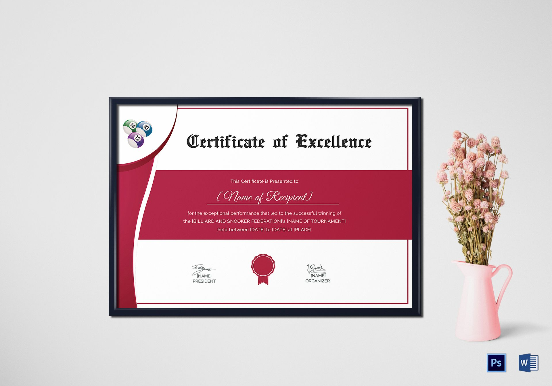 snooker excellence certificate design template in psd word