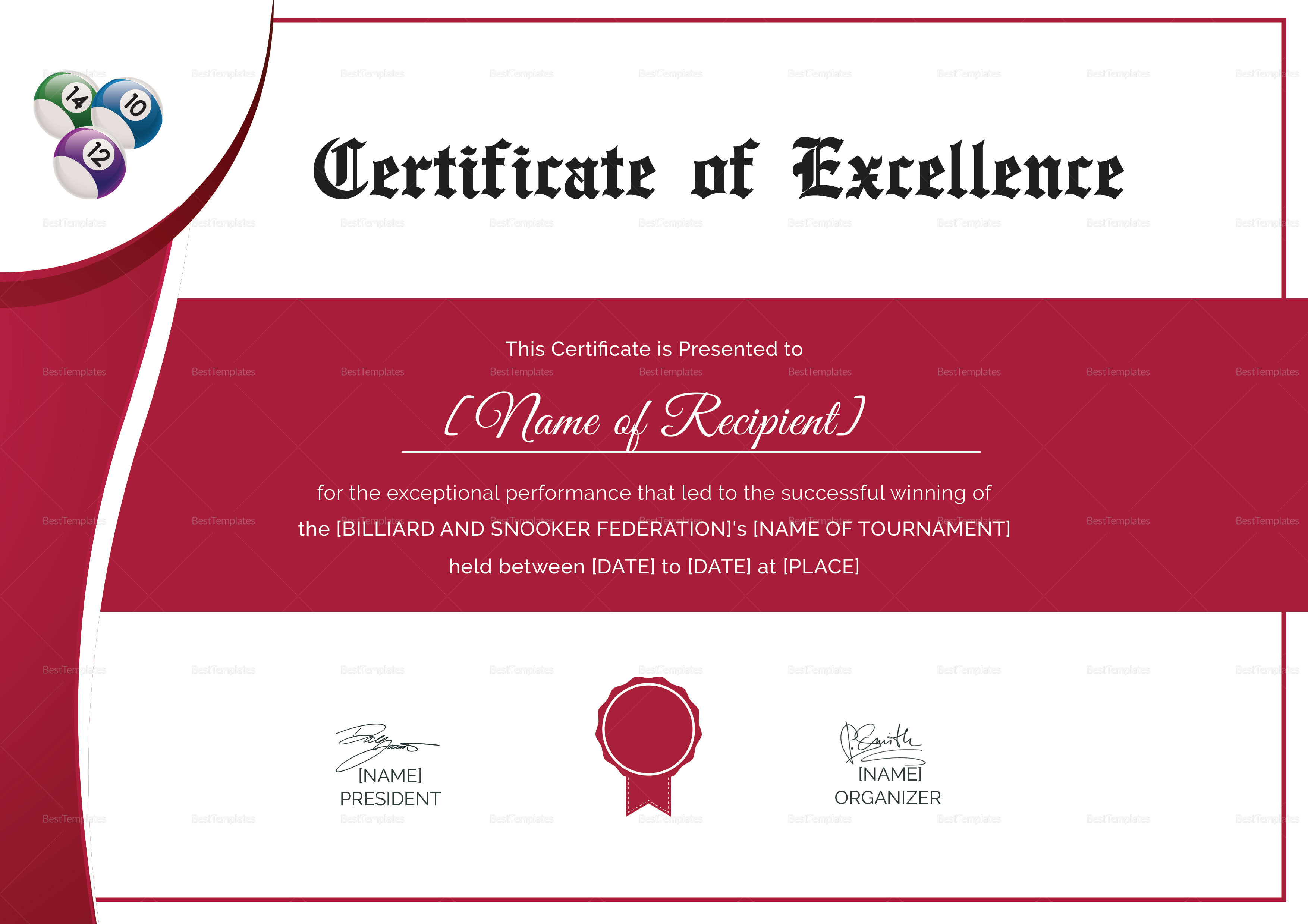 Snooker Excellence Certificate
