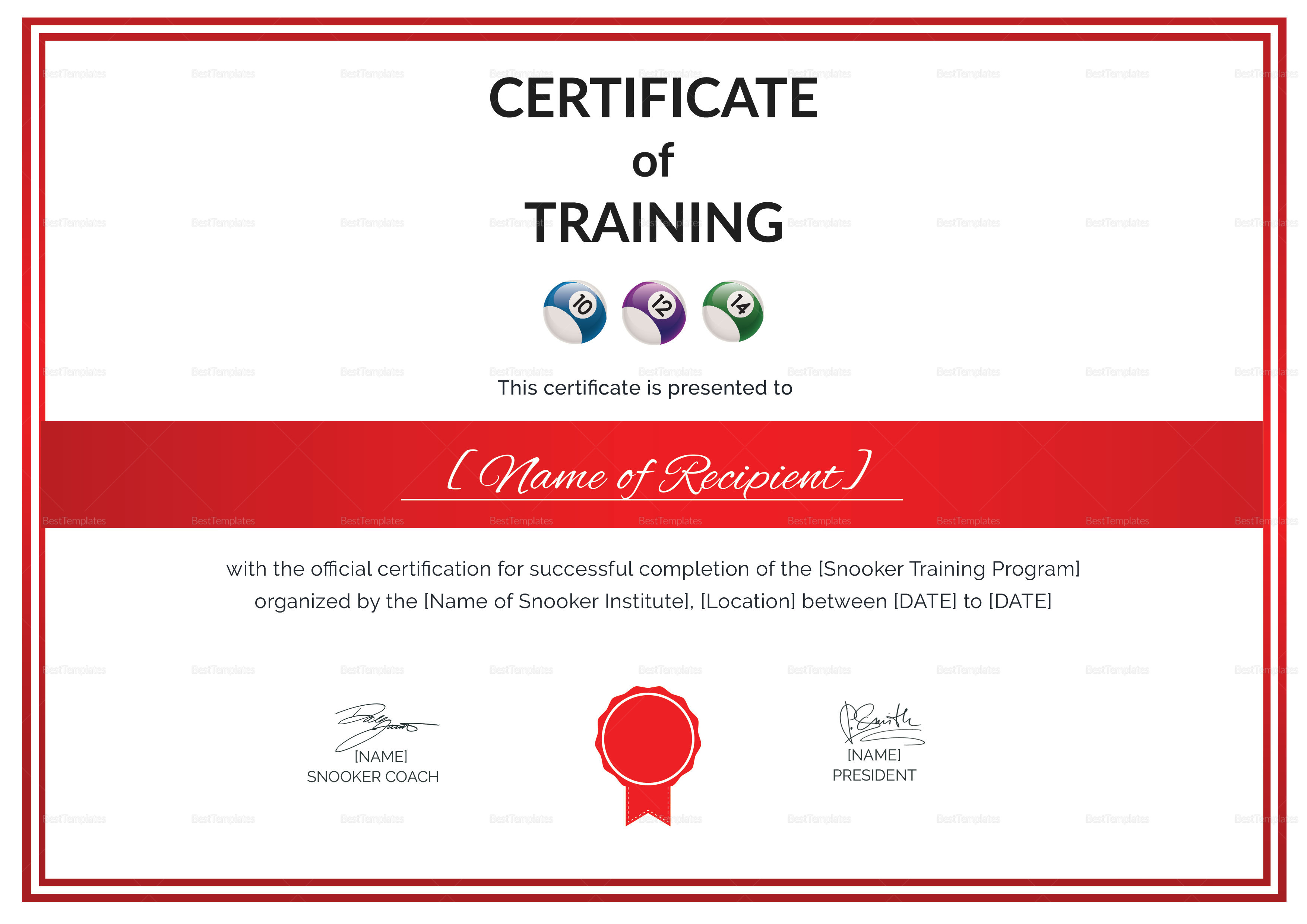 Certificate of Snooker Training