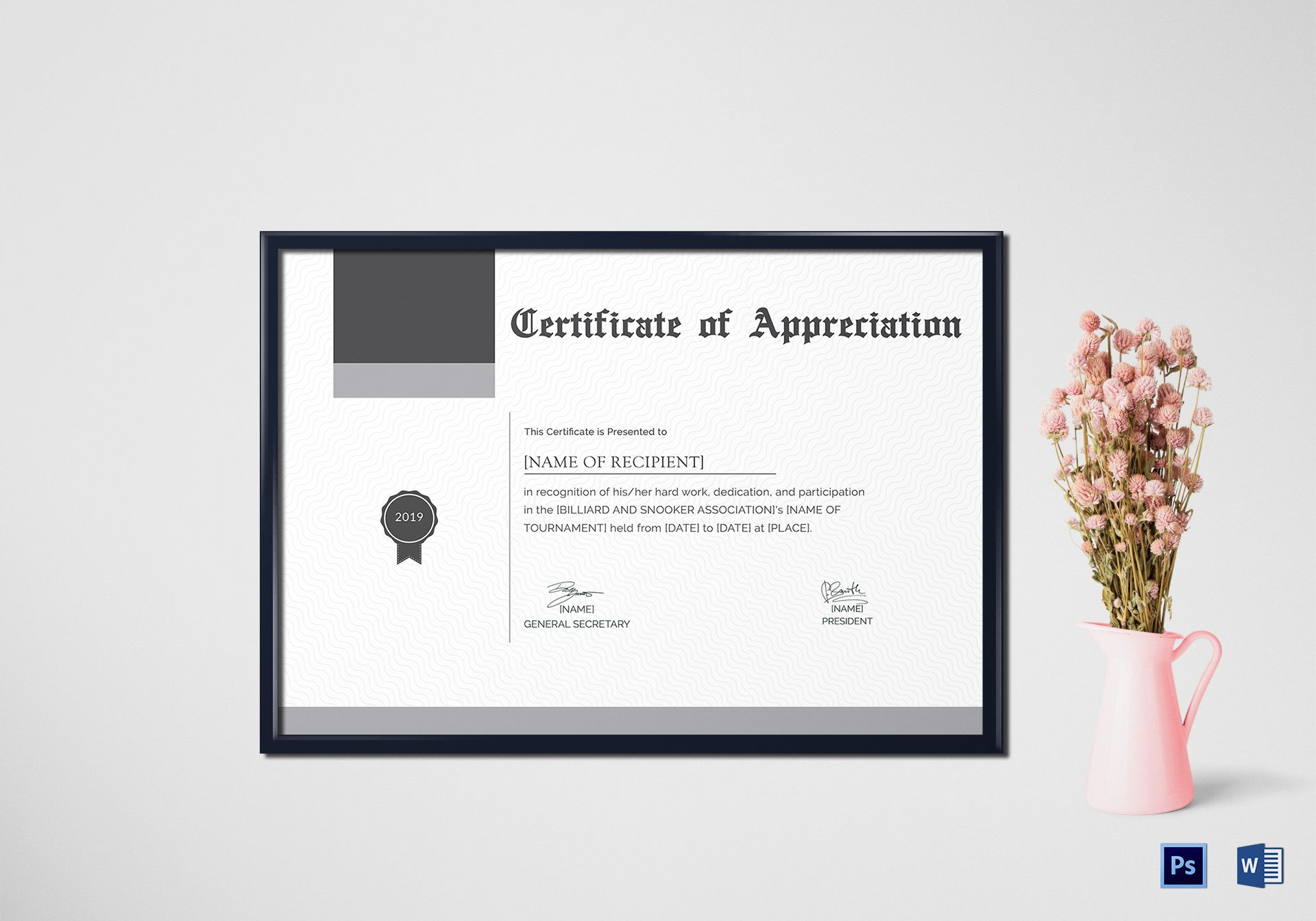 Snooker Appreciation Certificate Design Template In Psd Word