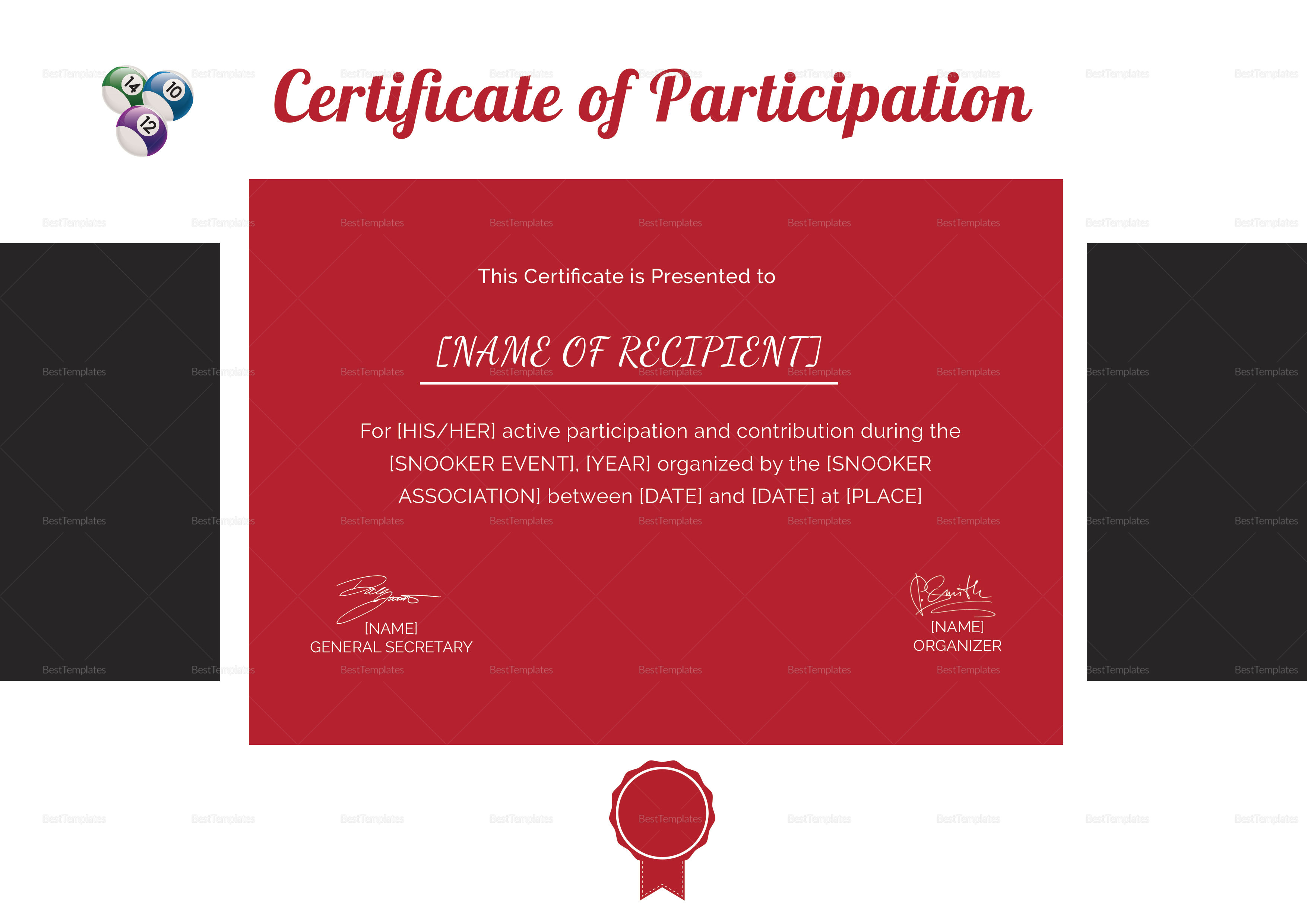 Participation Certificate for Snooker