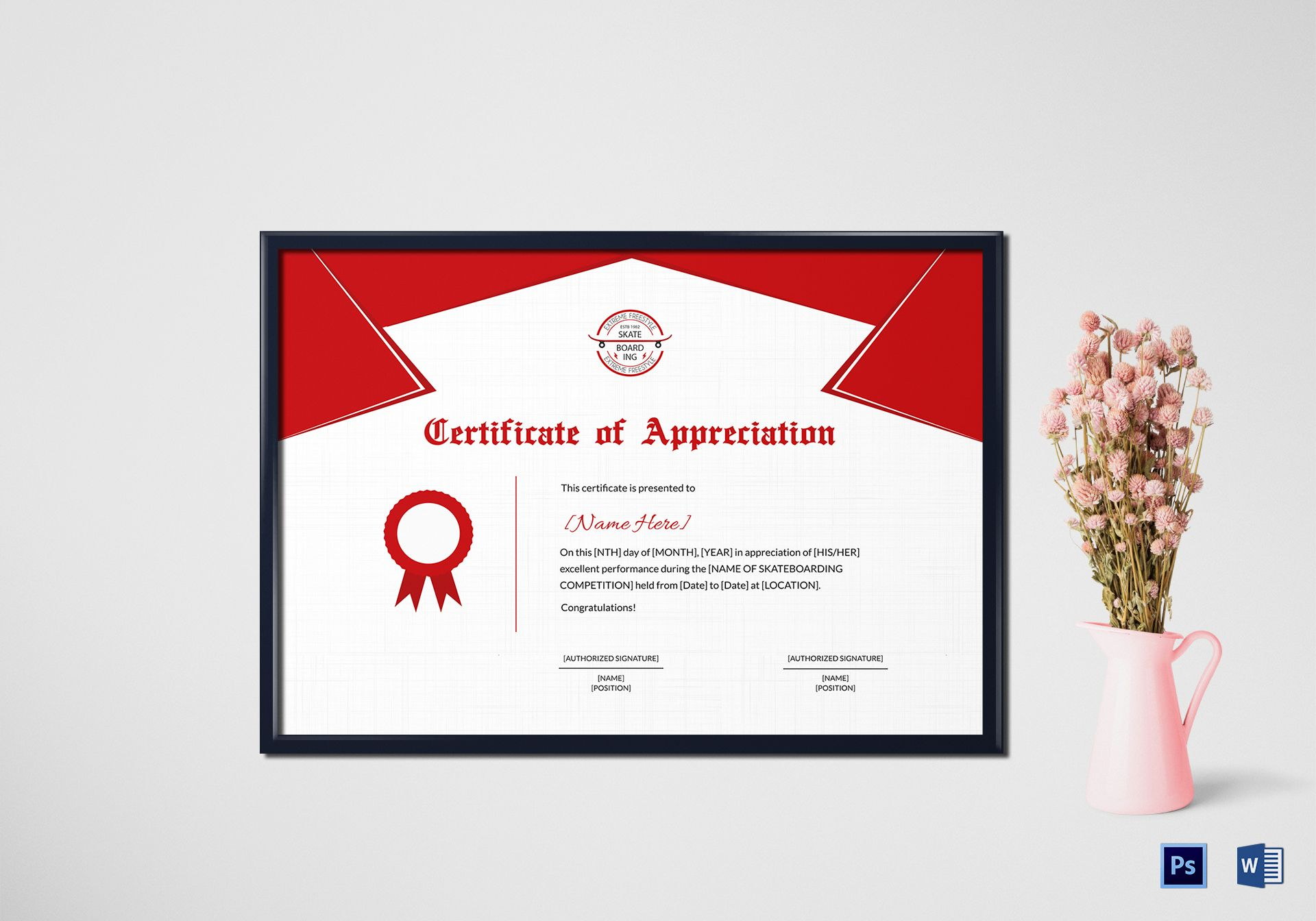 Skateboarding Performance Appreciation Certificate