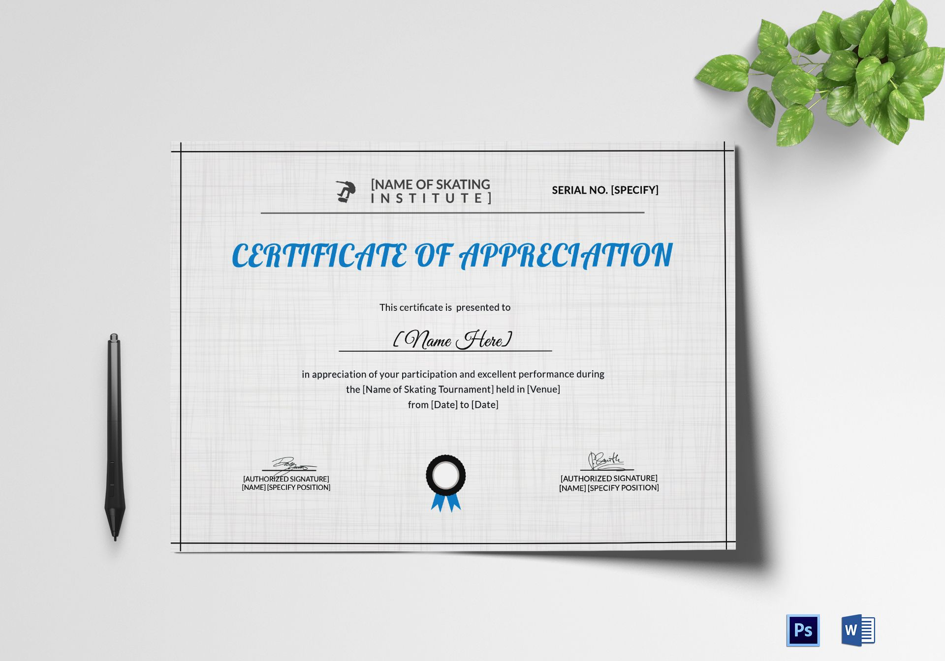 Appreciation Certificate of Skating