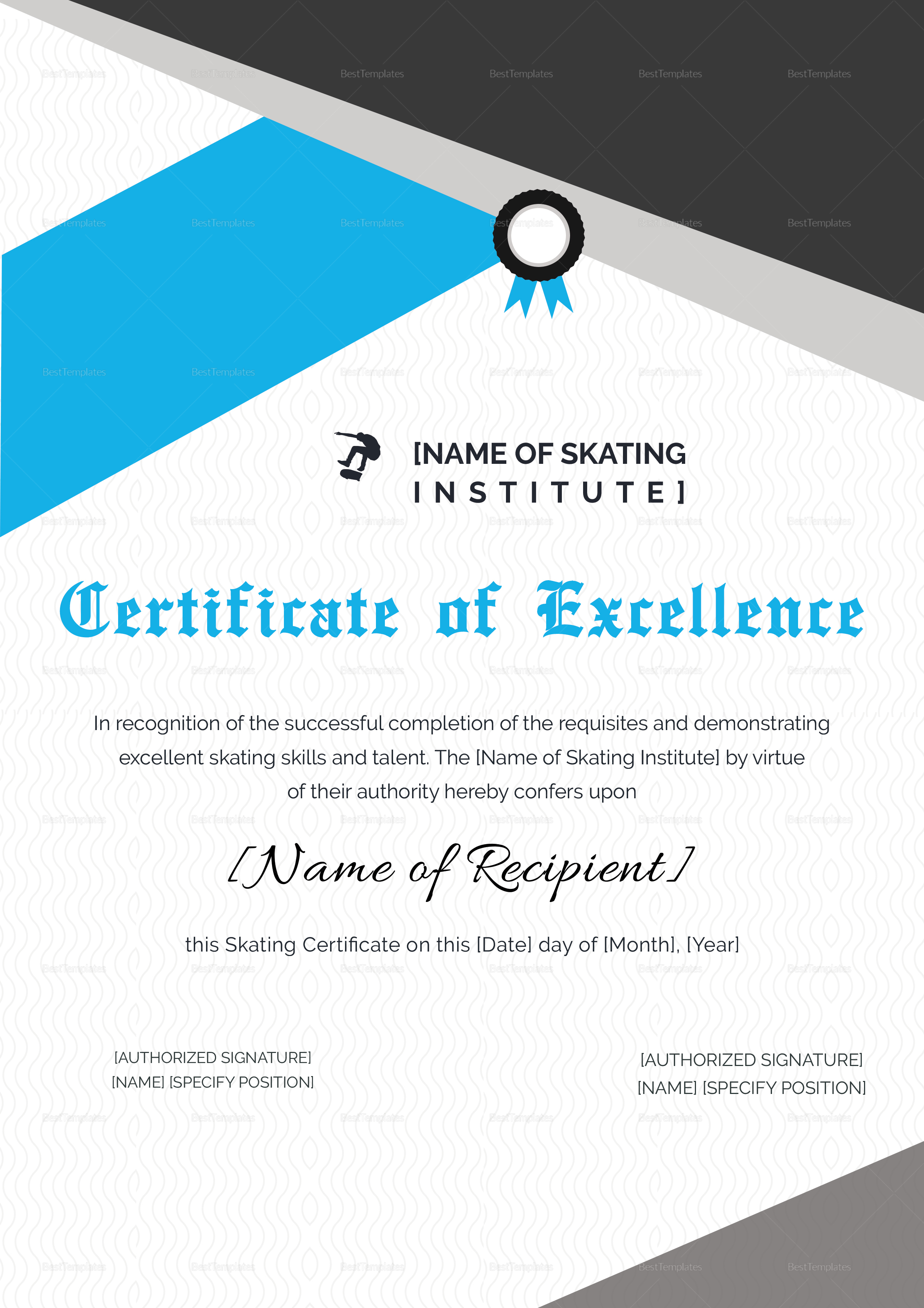 Certificate of Excellence for Skating