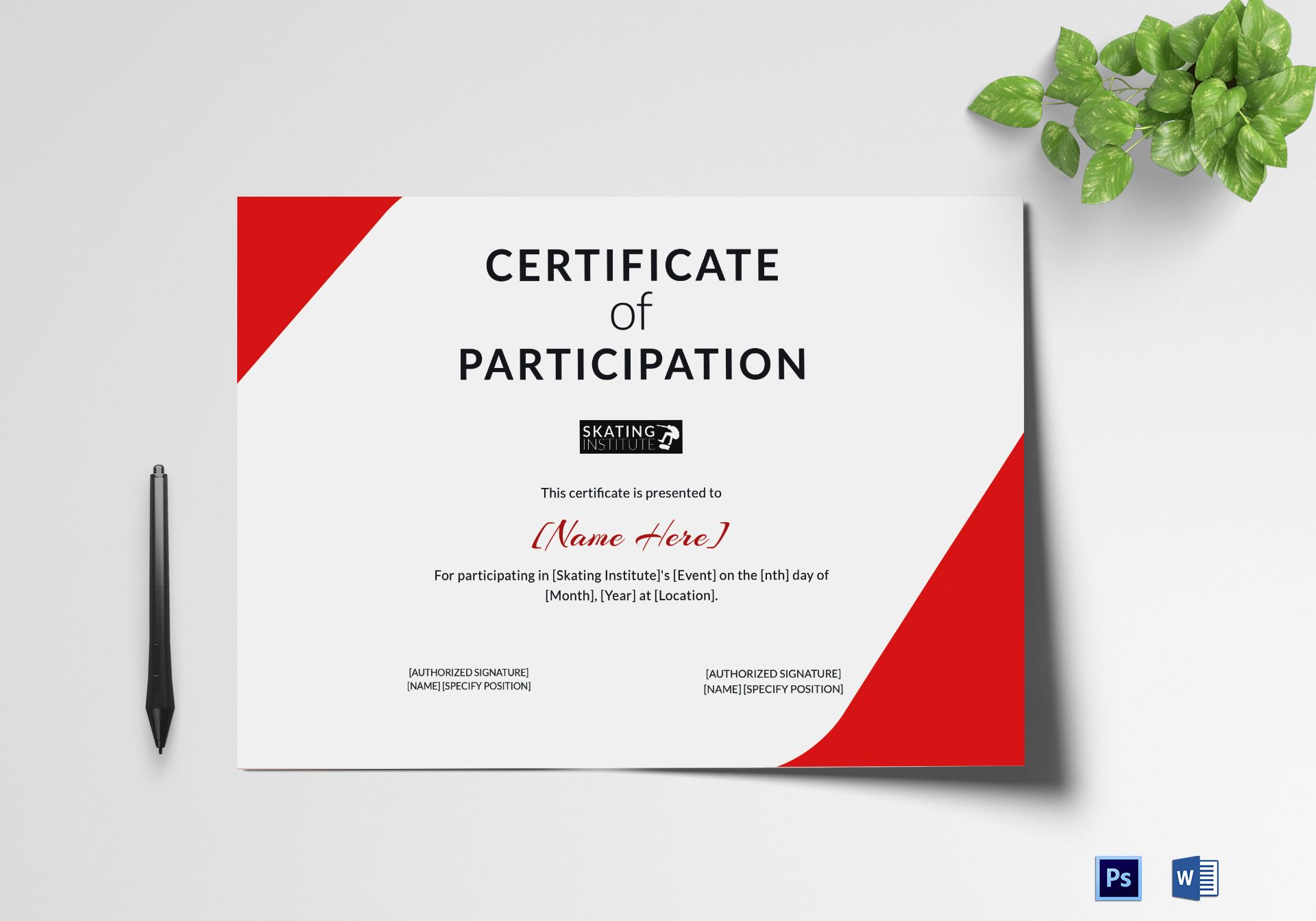 Certificate of Participation for Skating