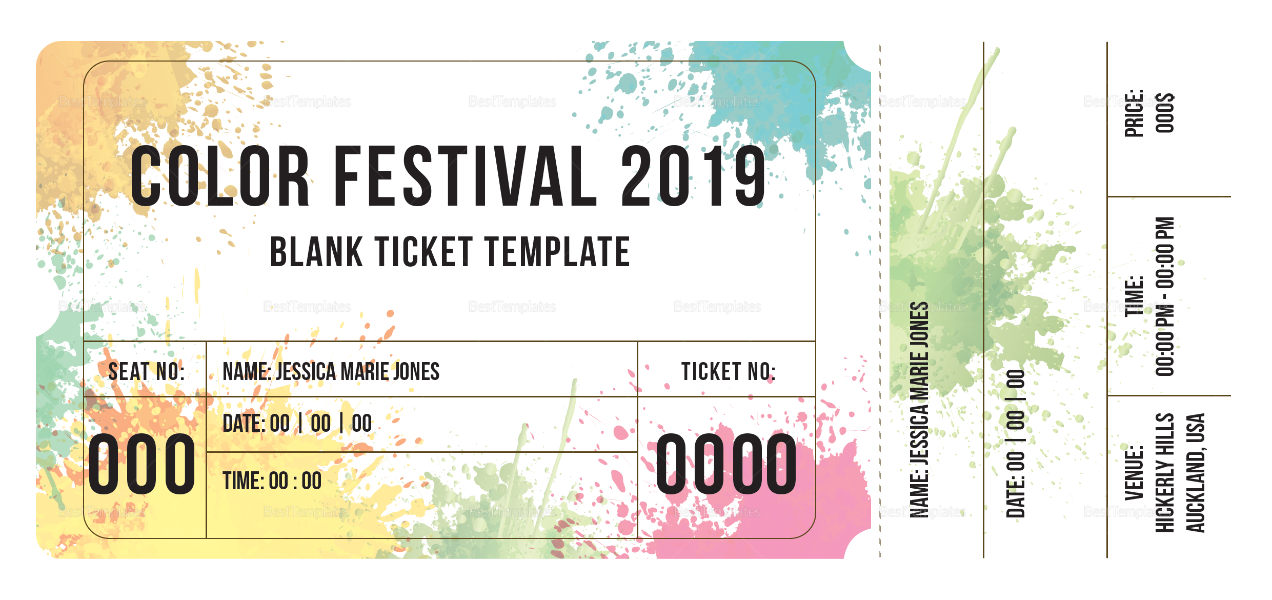 blank festival ticket design template in psd word publisher illustrator indesign. Black Bedroom Furniture Sets. Home Design Ideas