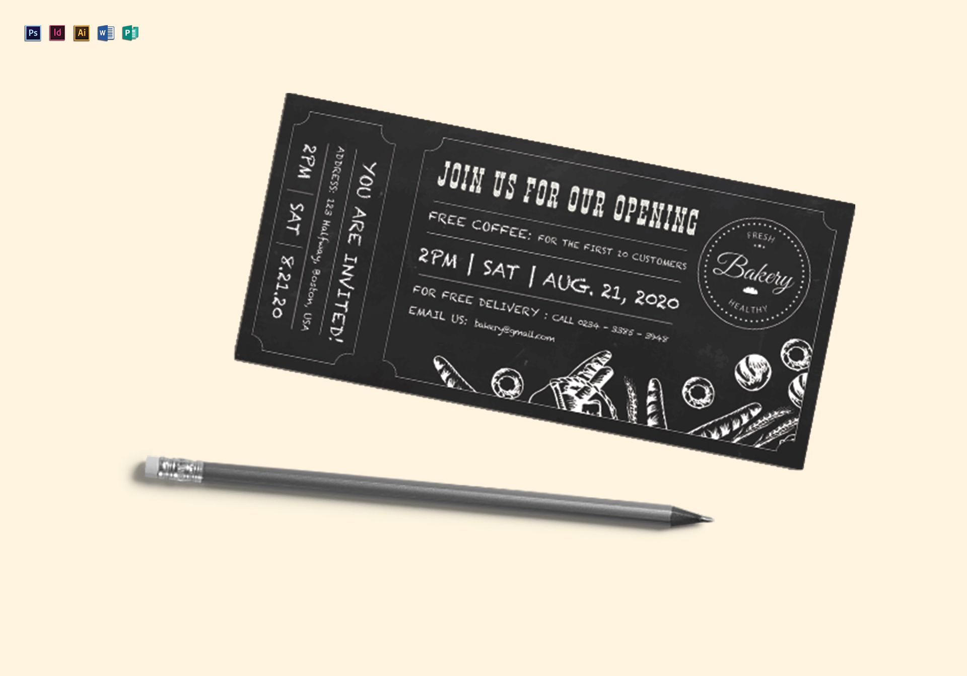 Chalkboard Ticket Design Template In PSD Word Publisher