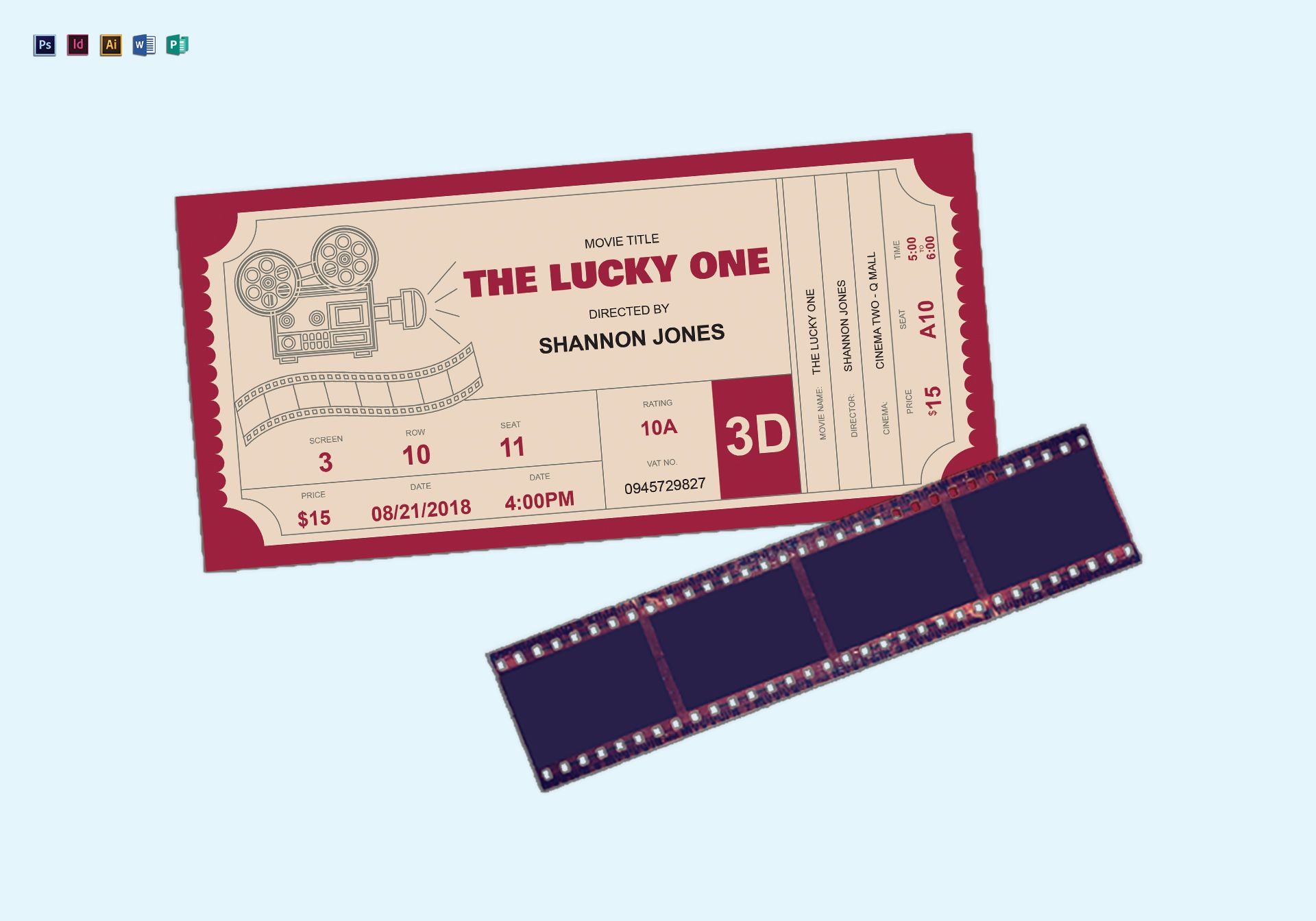 cinema ticket design template in psd word publisher illustrator indesign. Black Bedroom Furniture Sets. Home Design Ideas