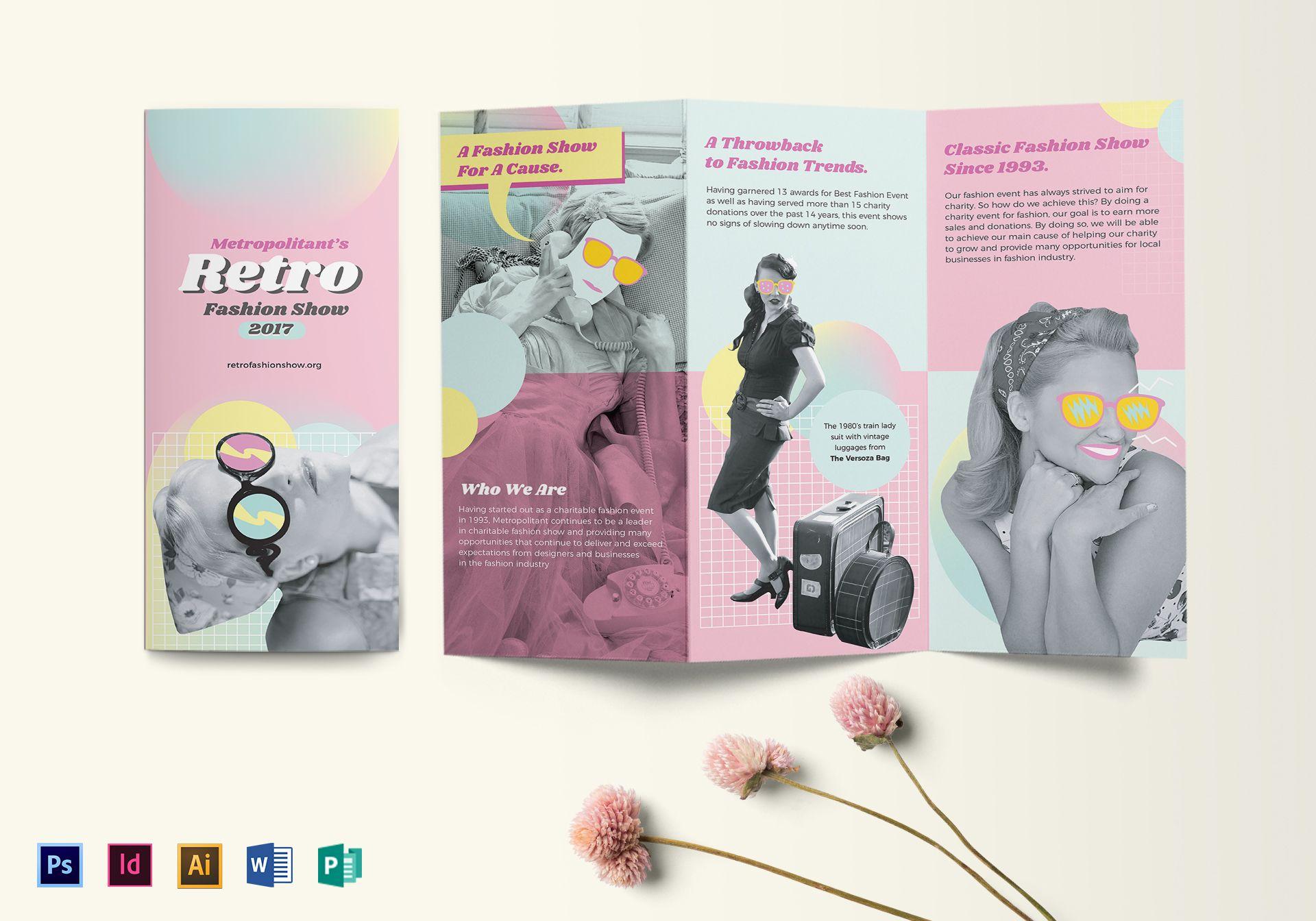 retro fashion tri fold brochure design template in psd word