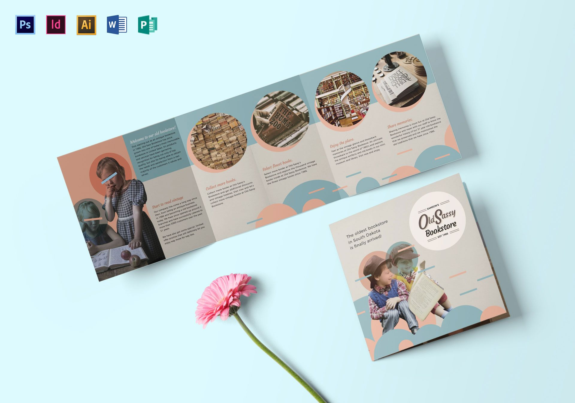Vintage Square Brochure Design Template In PSD Word Publisher