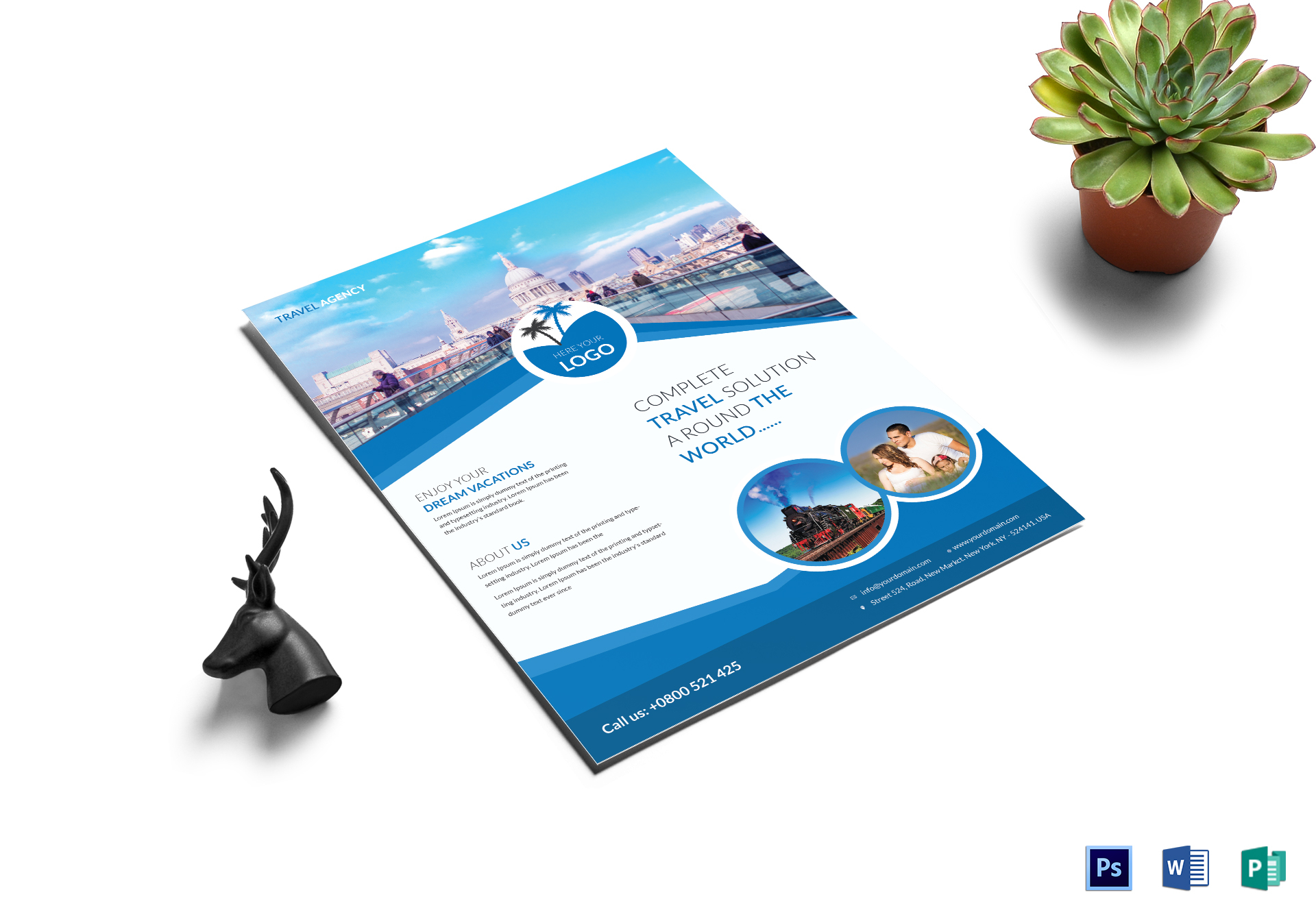Tourist Travel Flyer Design Template In Word Psd Publisher