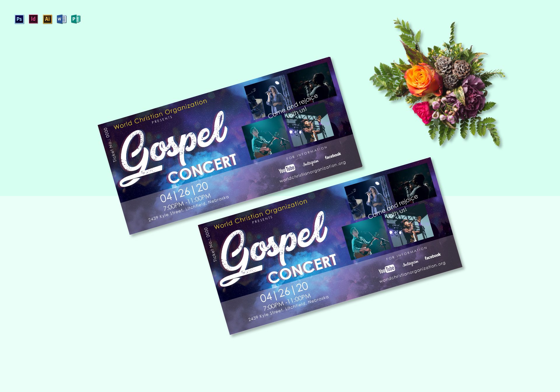 gospel concert ticket design template in psd word publisher illustrator indesign. Black Bedroom Furniture Sets. Home Design Ideas