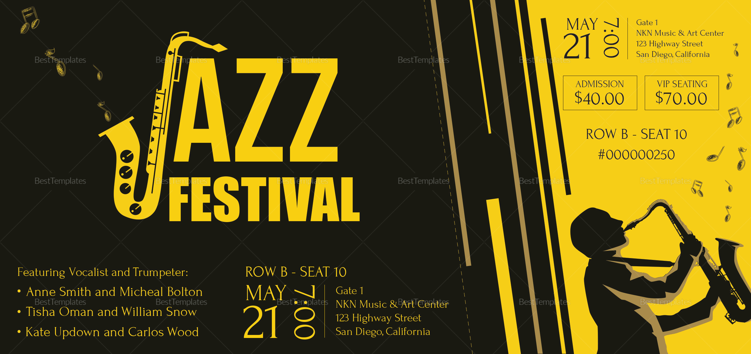 Jazz Ticket to Print