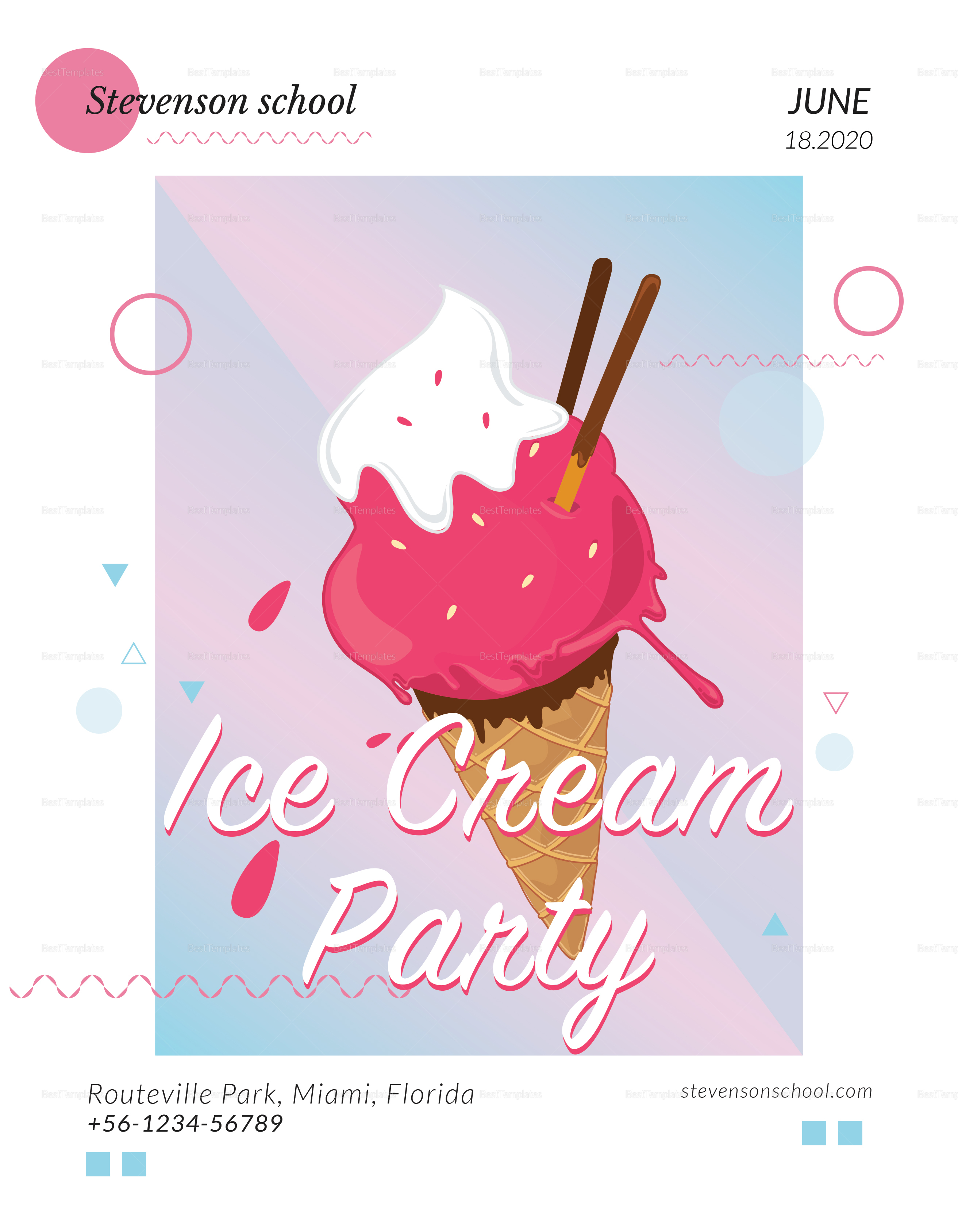 Ice Cream Party Flyer to Edit