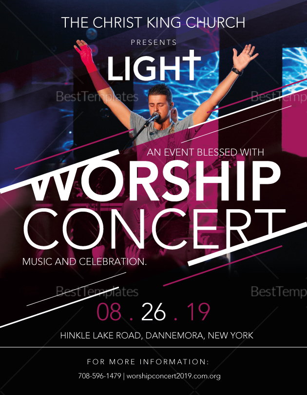 Church Worship Concert Flyer Design Template In Psd Word Publisher