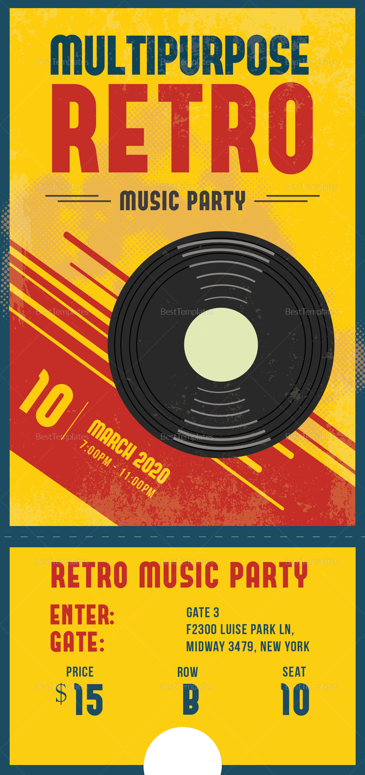 Sample Multipurpose Retro Party Ticket