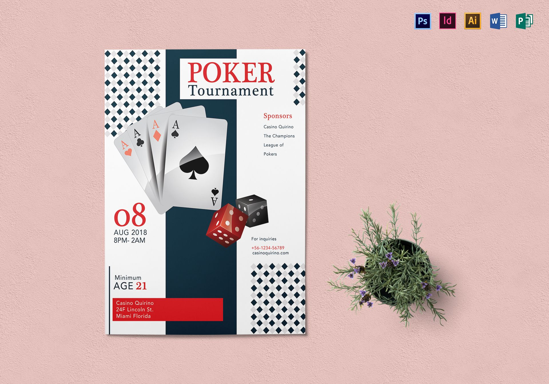 Poker Tournament Flyer Design Template In PSD Word Publisher - Poker tournament flyer template word