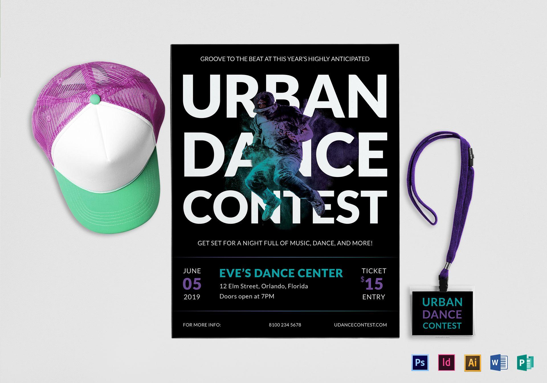 urban dance contest flyer design template in psd  word