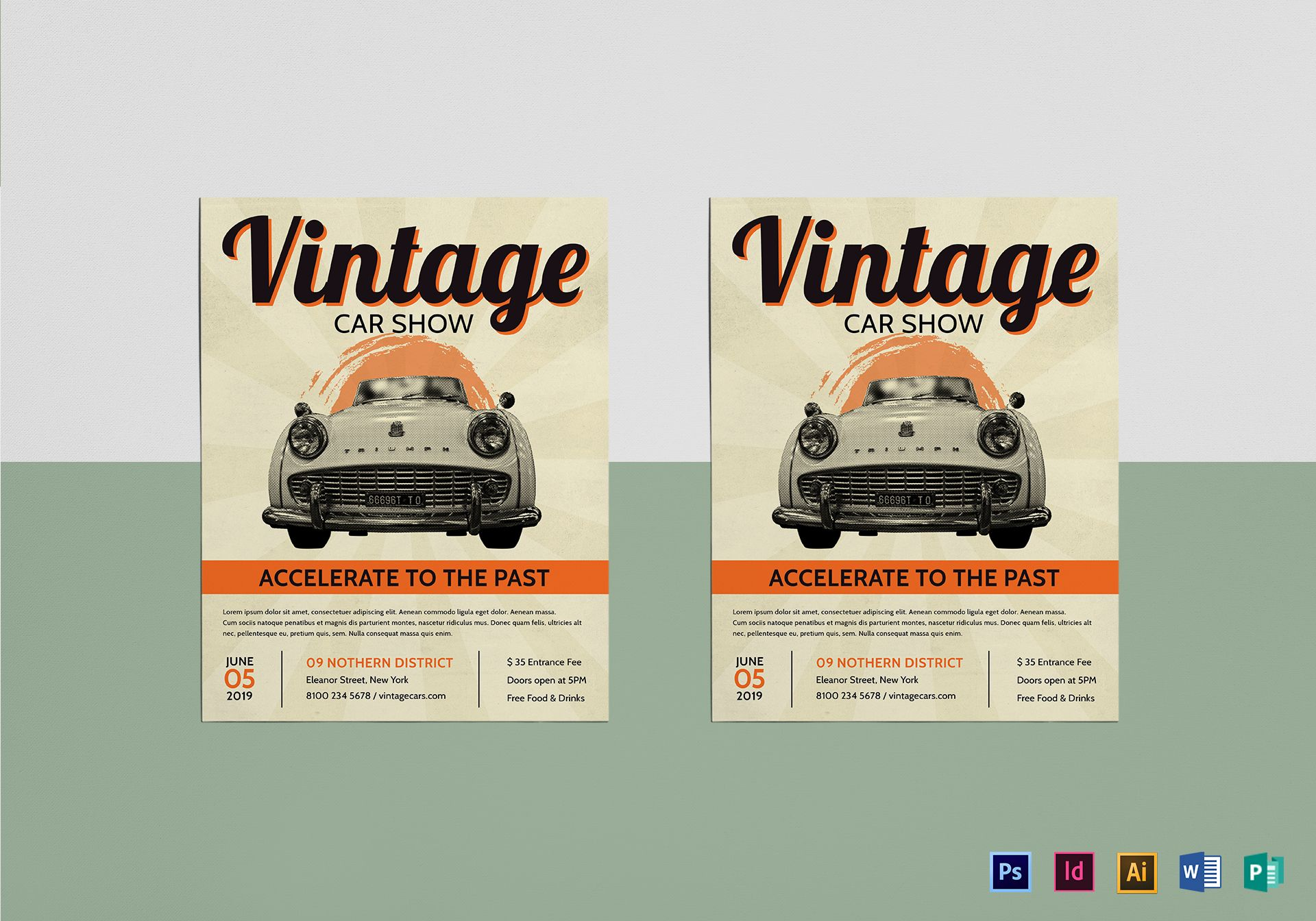 Vintage Car Show Flyer Design Template In PSD Word Publisher - Car show flyer template