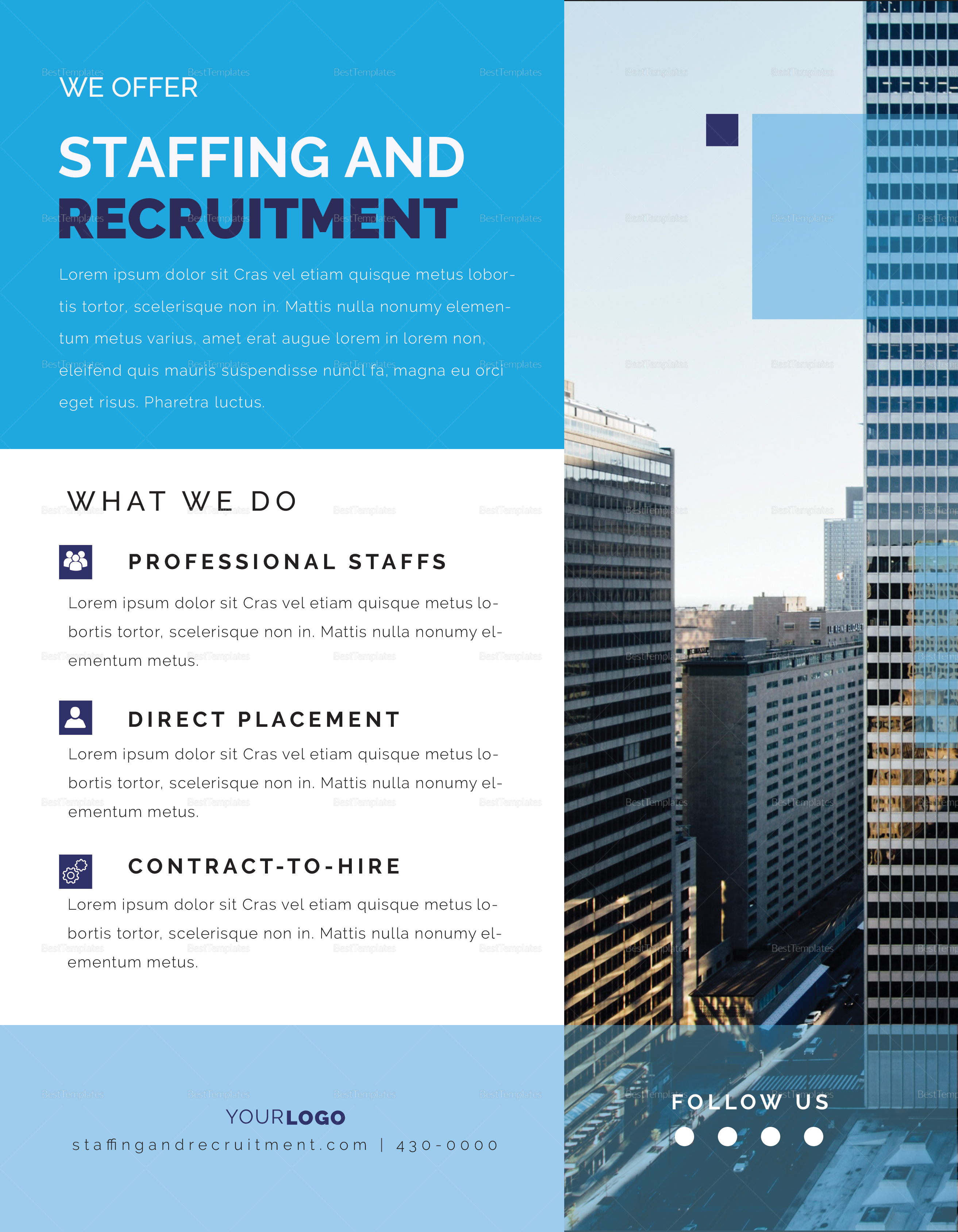 staffing and recruitment flyer design template in psd, word
