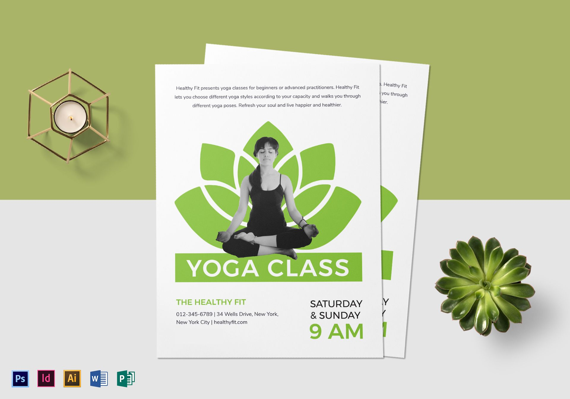Yoga Class Flyer Design Template In PSD Word Publisher