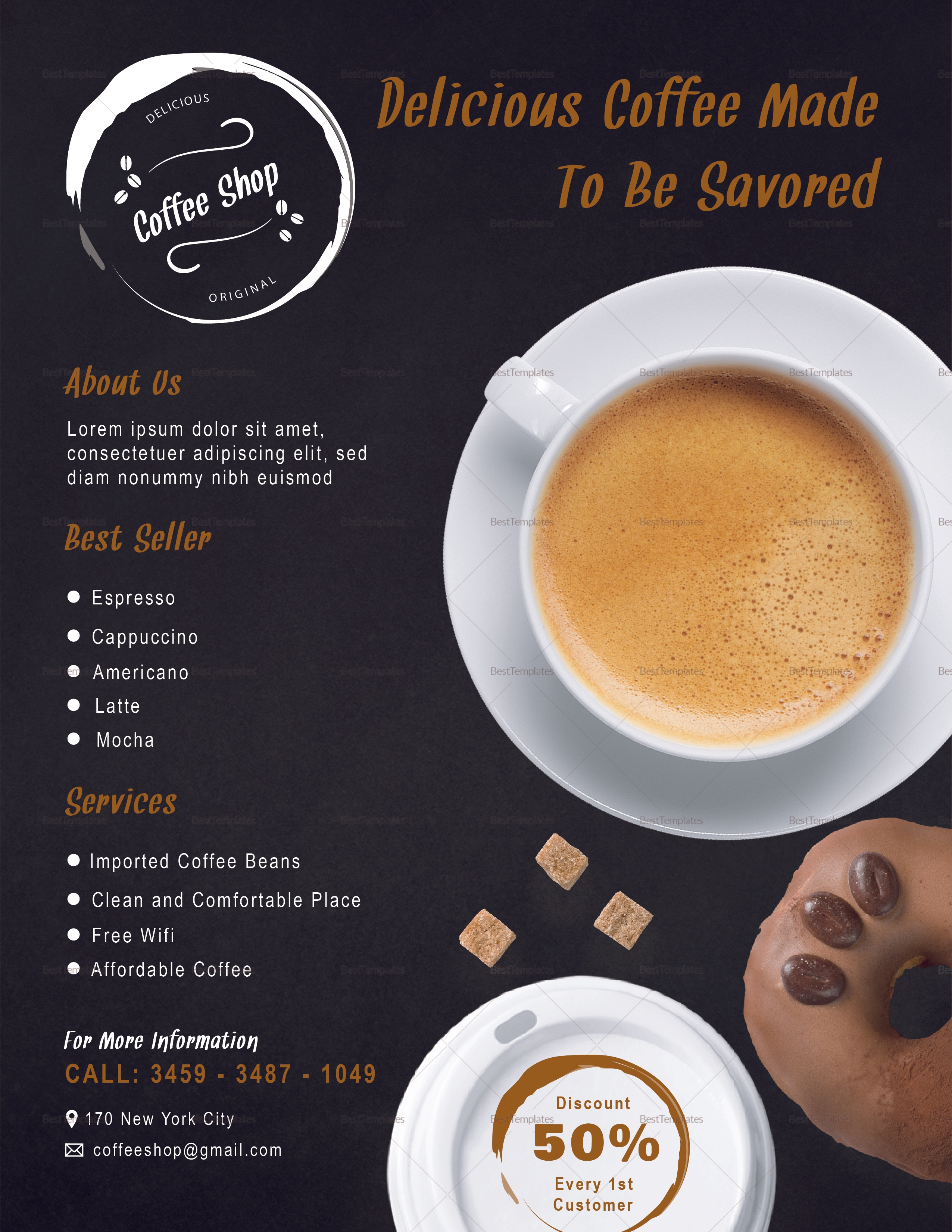 Coffee Shop Flyer Design Template in PSD, Word, Publisher