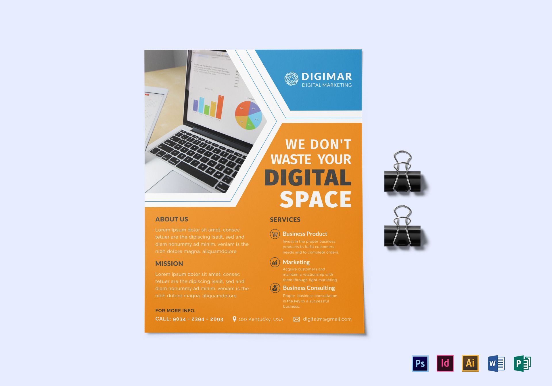 Digital marketing flyer design template in psd word for Digital marketing materials