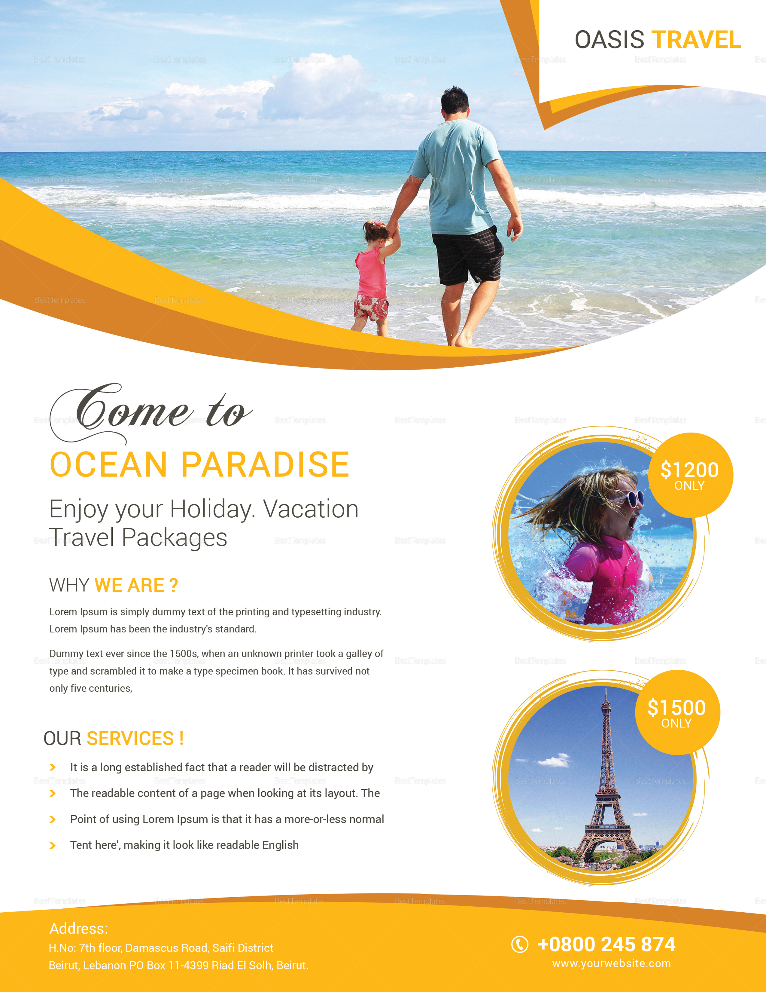 Vacation Travel Flyer Design Template In Word Psd Publisher