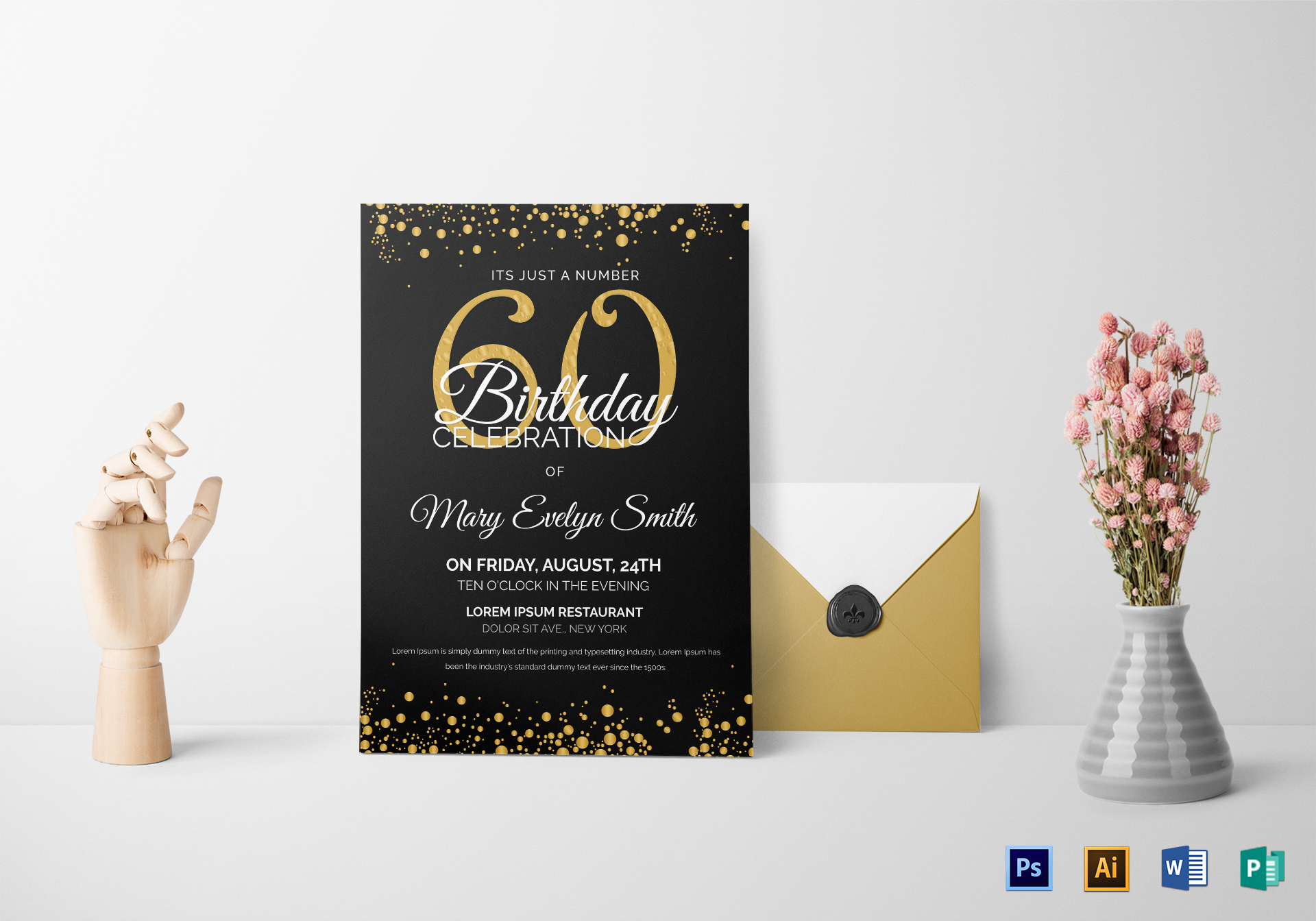Black and Gold 60th Birthday Party Invitation Design Template in