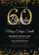 Black and Gold 60th Birthday Party Invitation Design Template