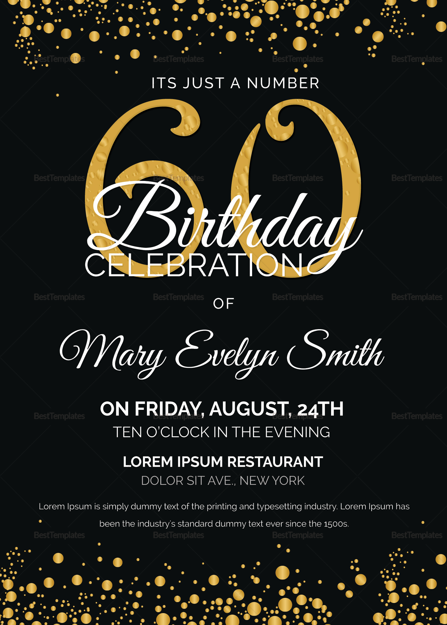 Black and gold 60th birthday party invitation design template in black and gold 60th birthday party invitation design template stopboris Gallery