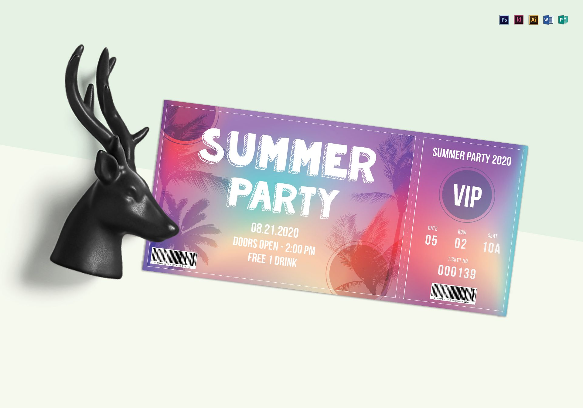 summer party ticket design template in psd word publisher