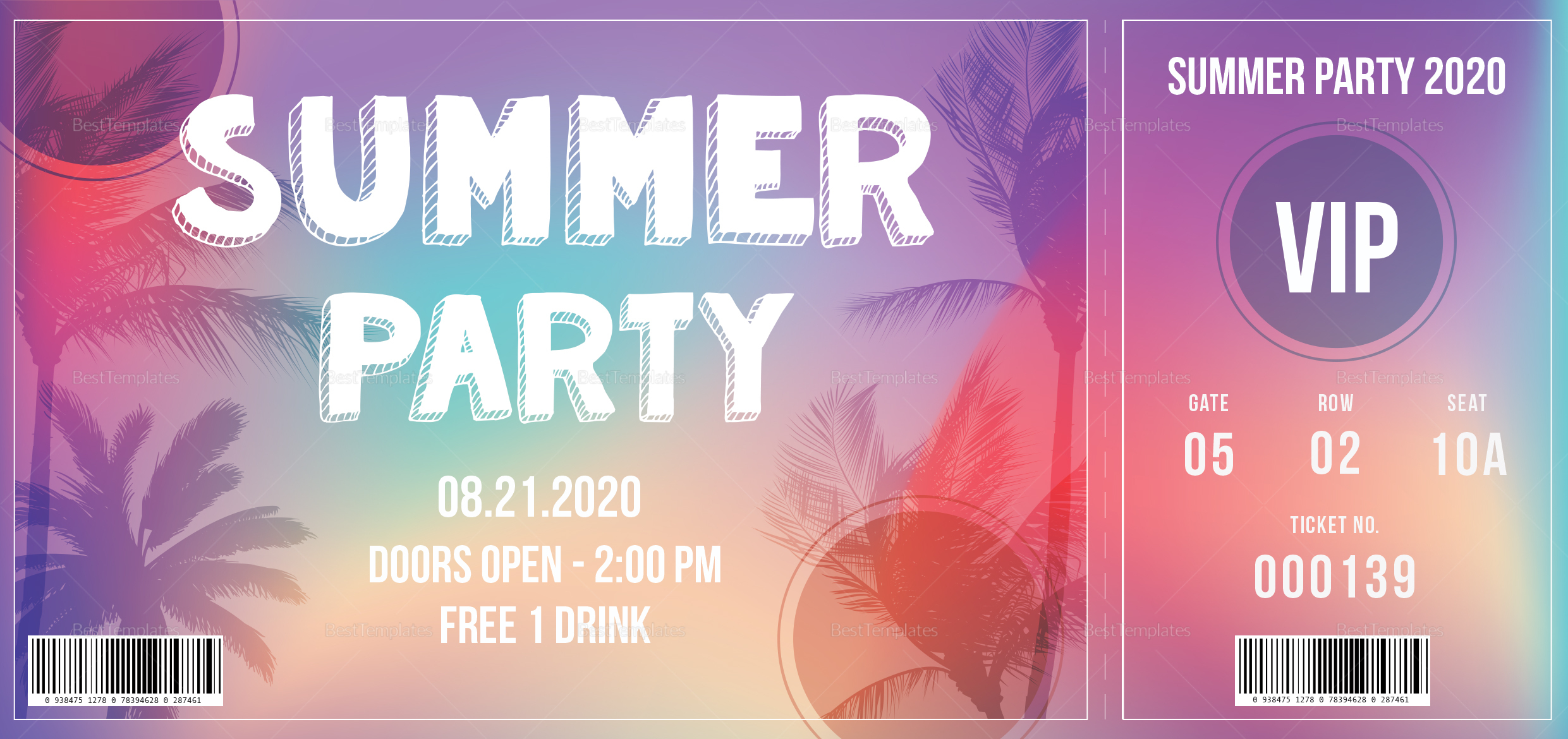 summer party ticket design template in psd word publisher illustrator indesign. Black Bedroom Furniture Sets. Home Design Ideas