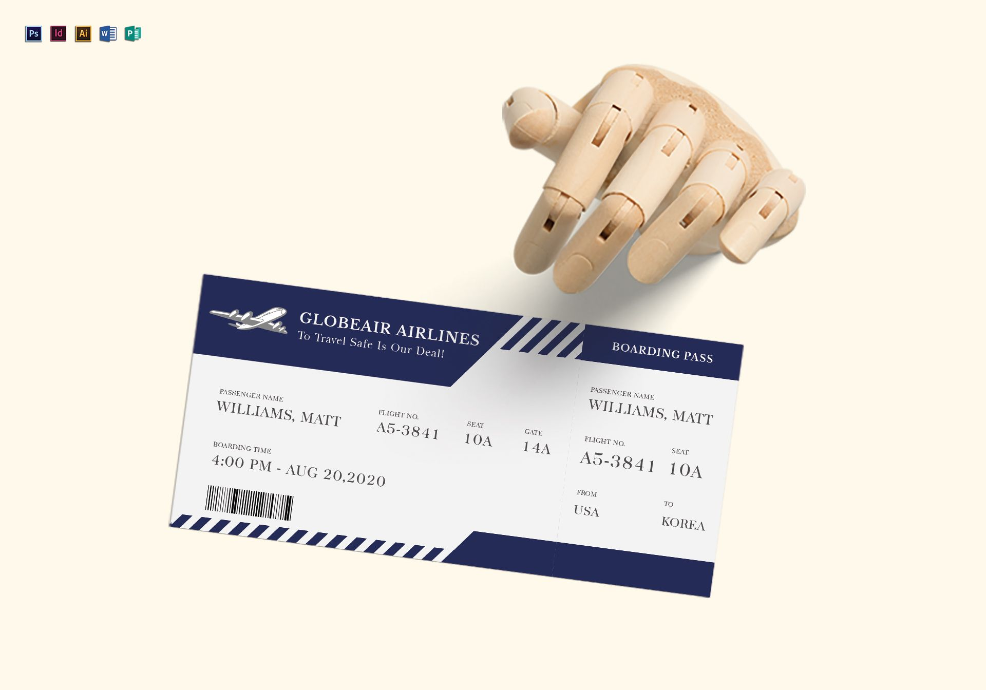 Plane Boarding Ticket Design Template In PSD Word Publisher