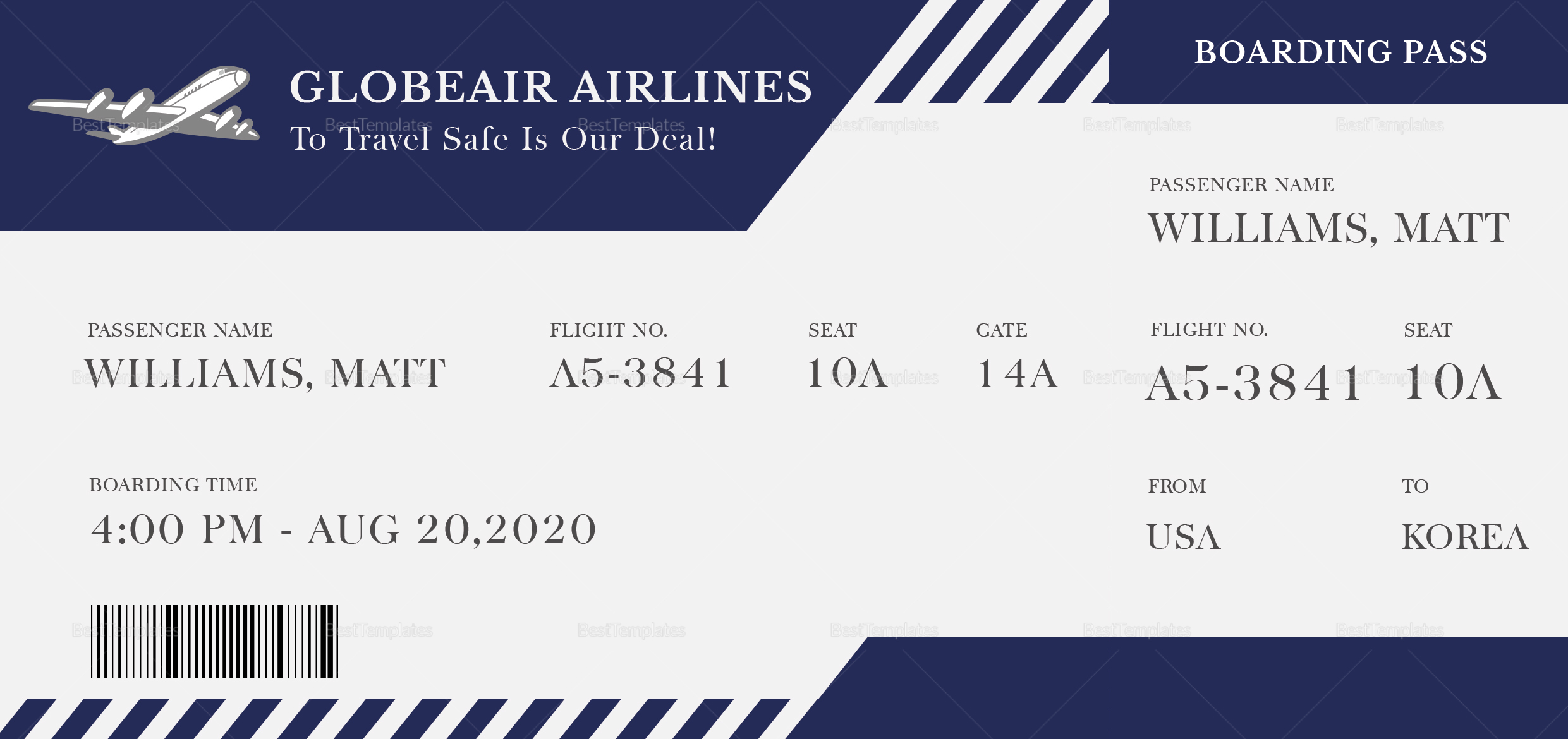 Plane Boarding Ticket; Plane Boarding Ticket ...  Plane Ticket Template