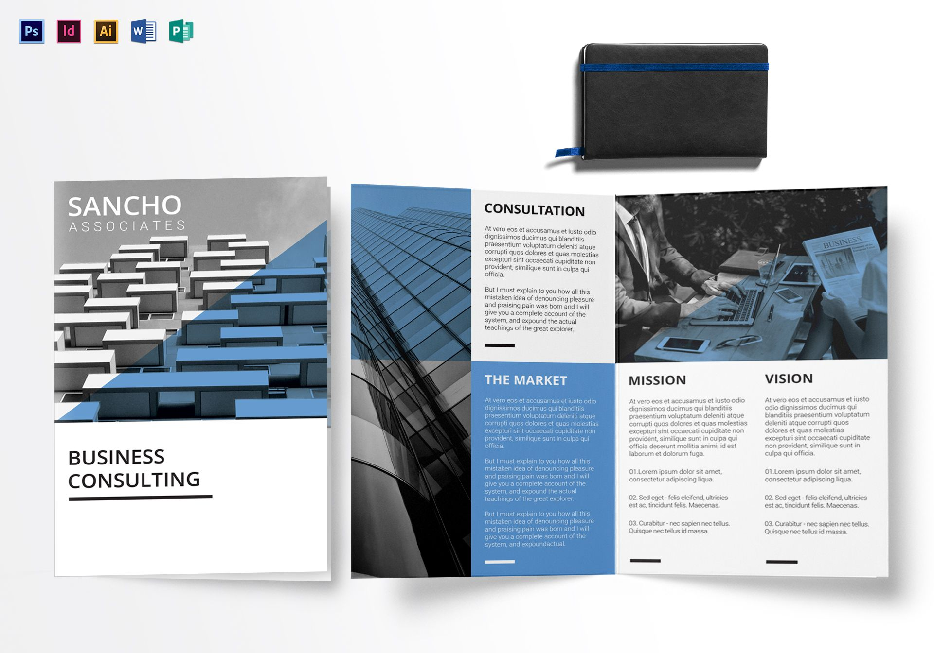 Business consulting bi fold brochure design template in for Bi fold brochure template illustrator