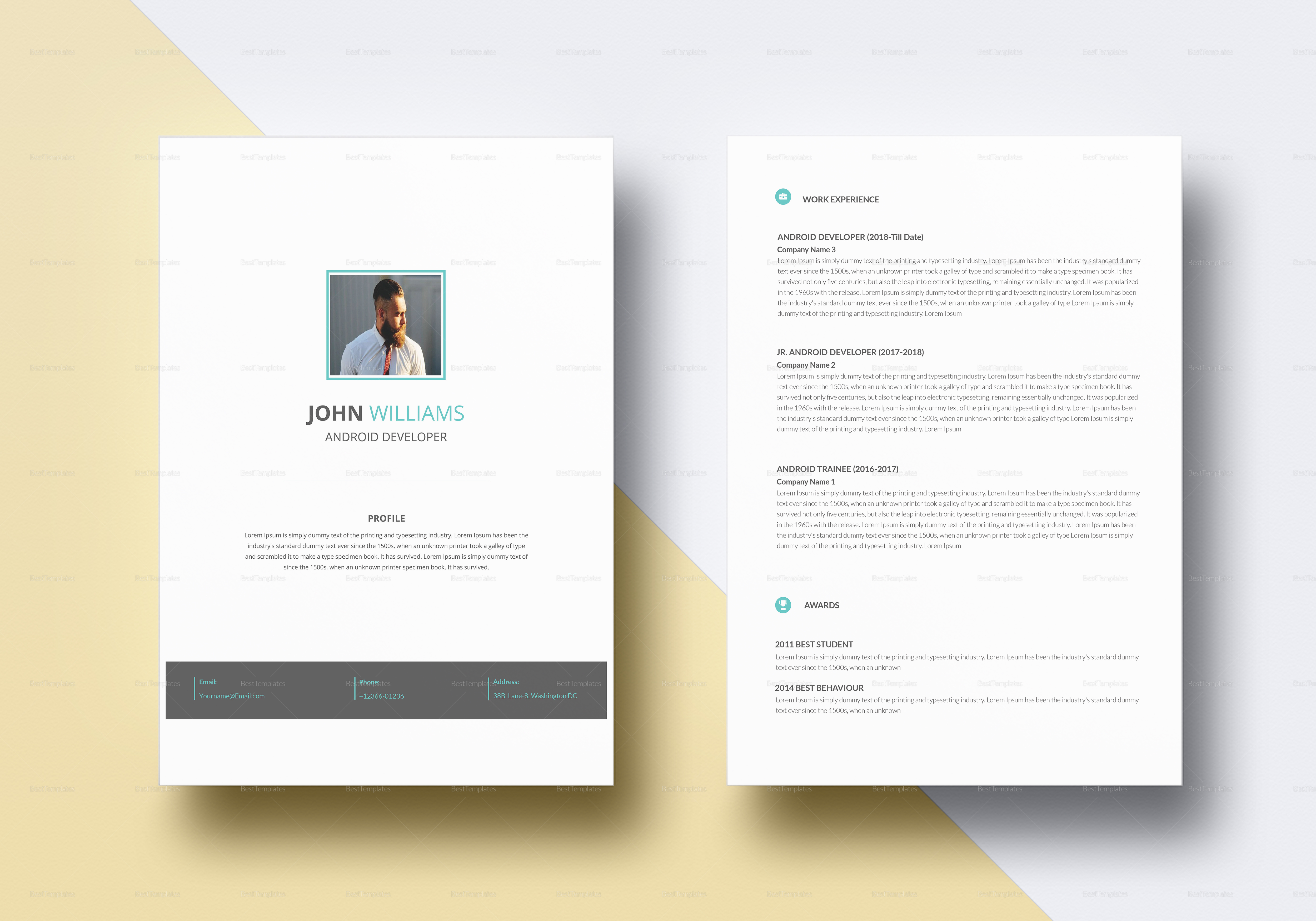 professional android developer resume template professional android developer resume template - Android Developer Resume