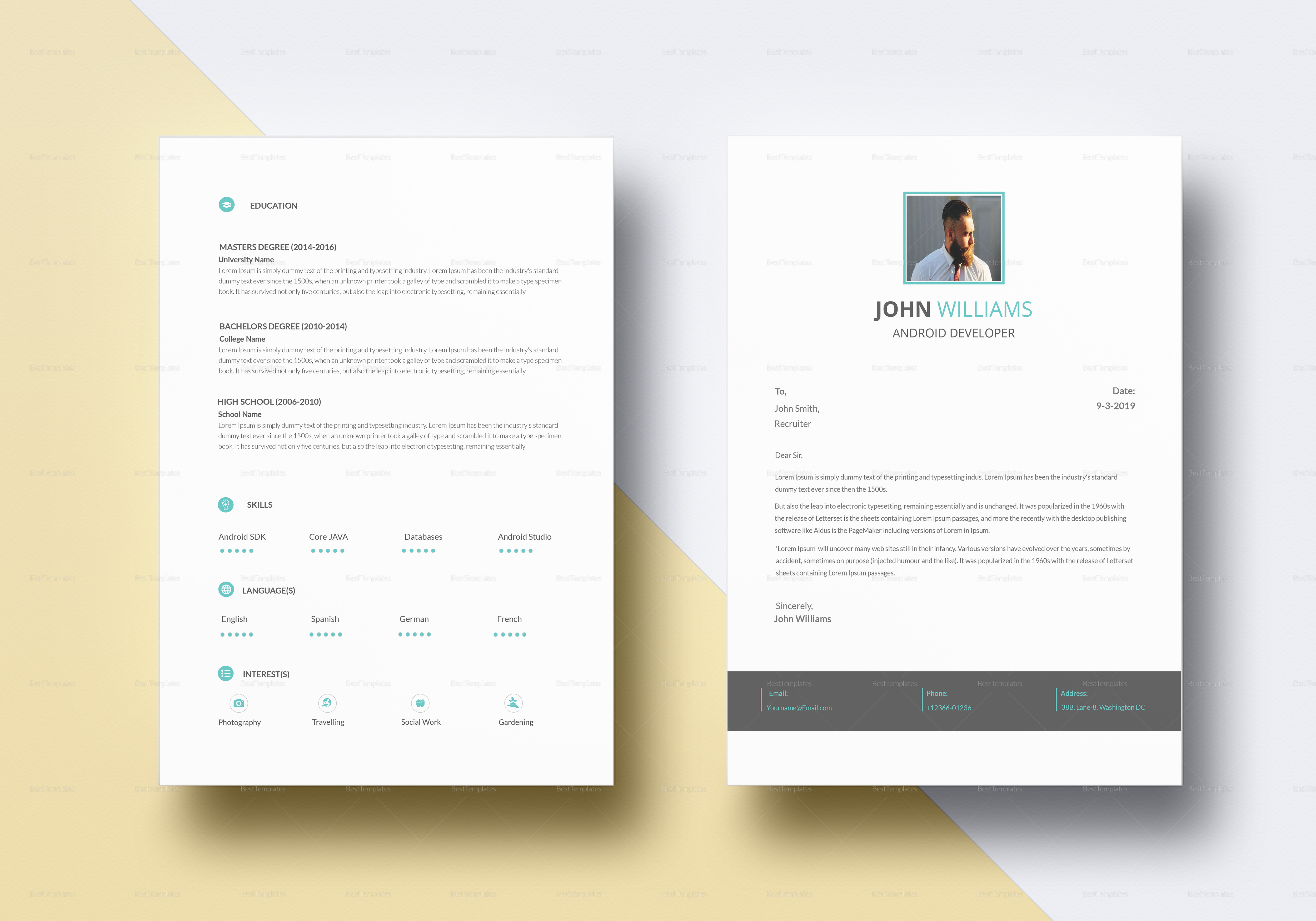 Professional Android Developer Resume Template to Print