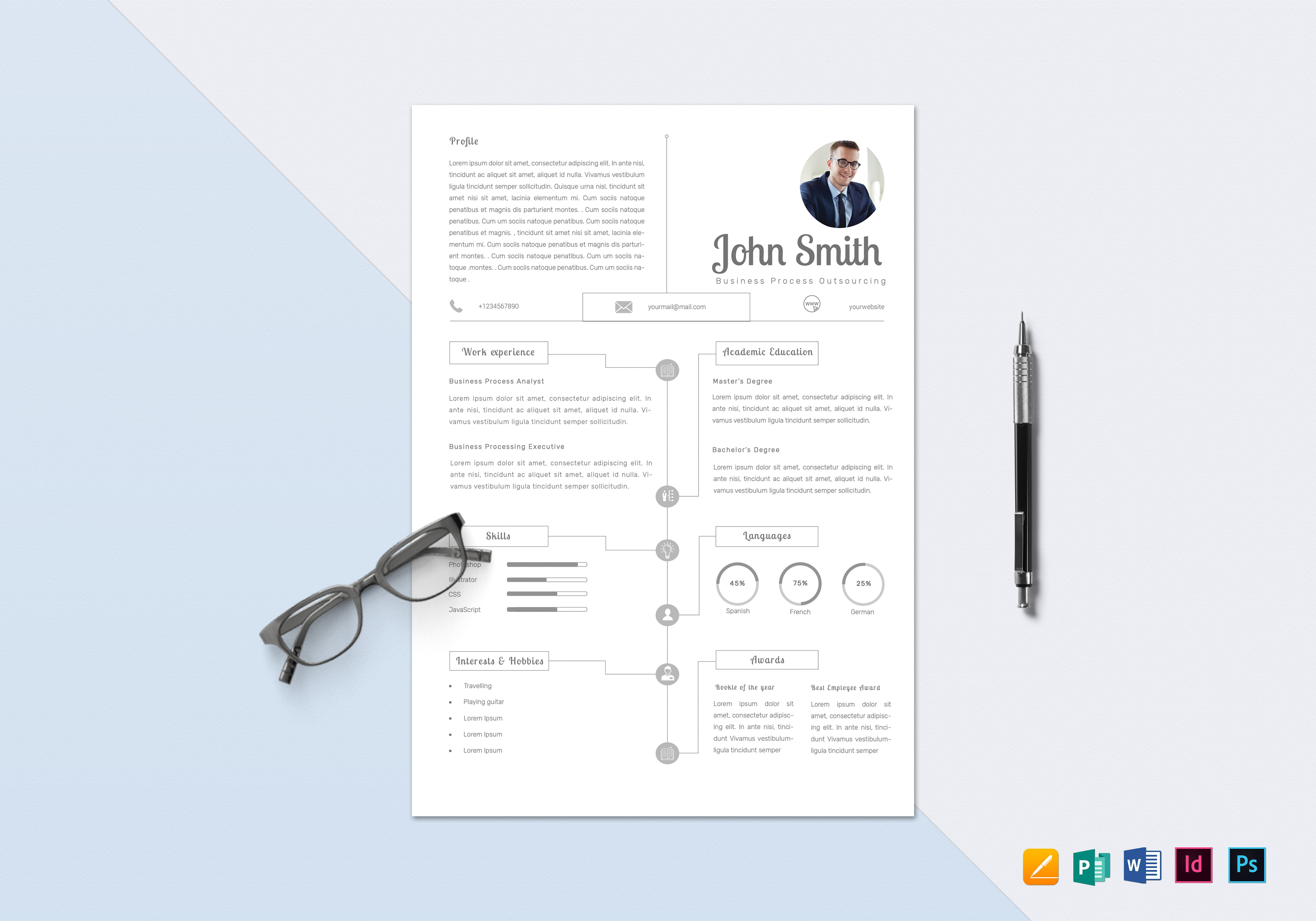 infographic bpo resume design template in psd  word  publisher  indesign  apple pages