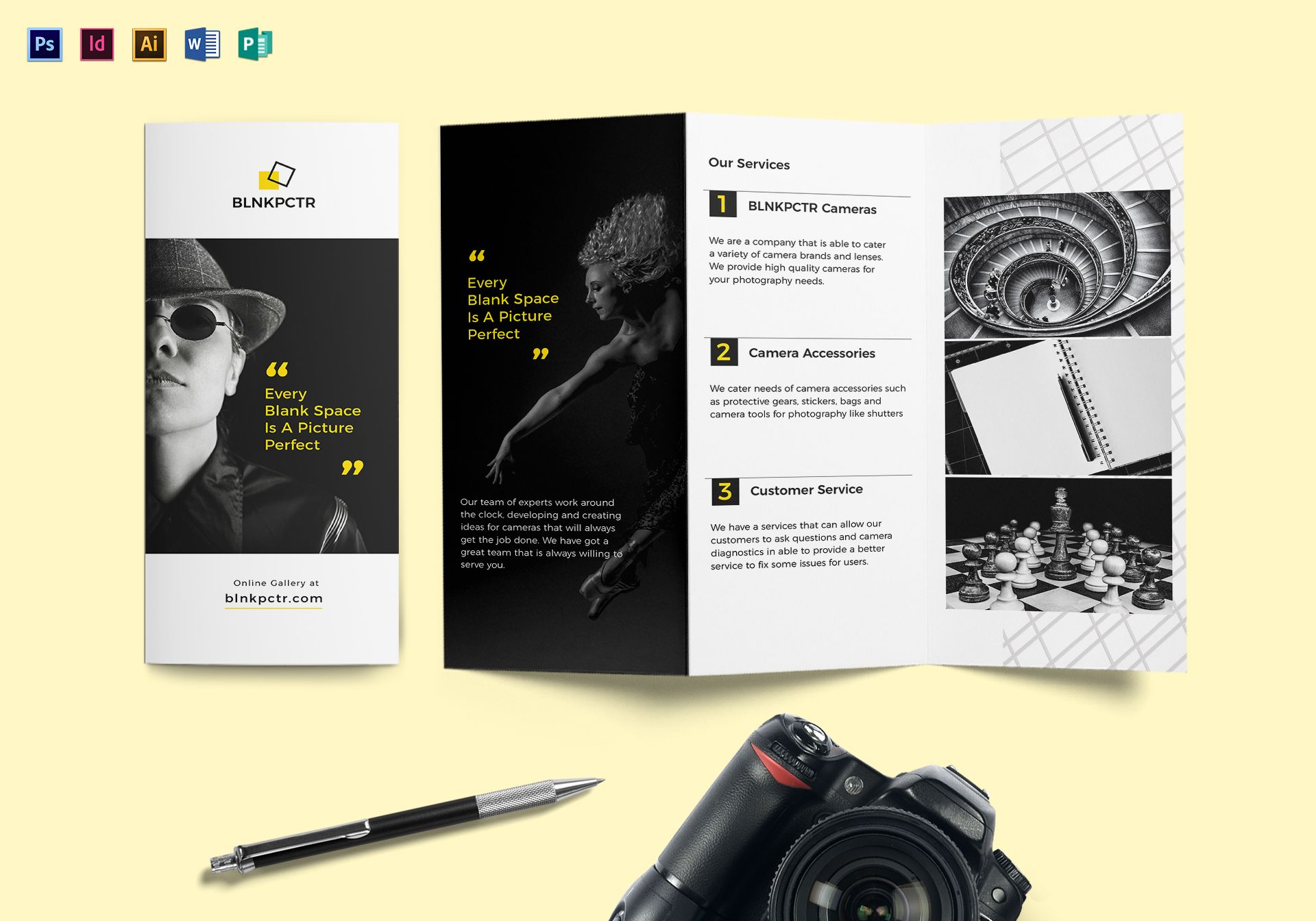 blank photography tri fold brochure design template in psd word