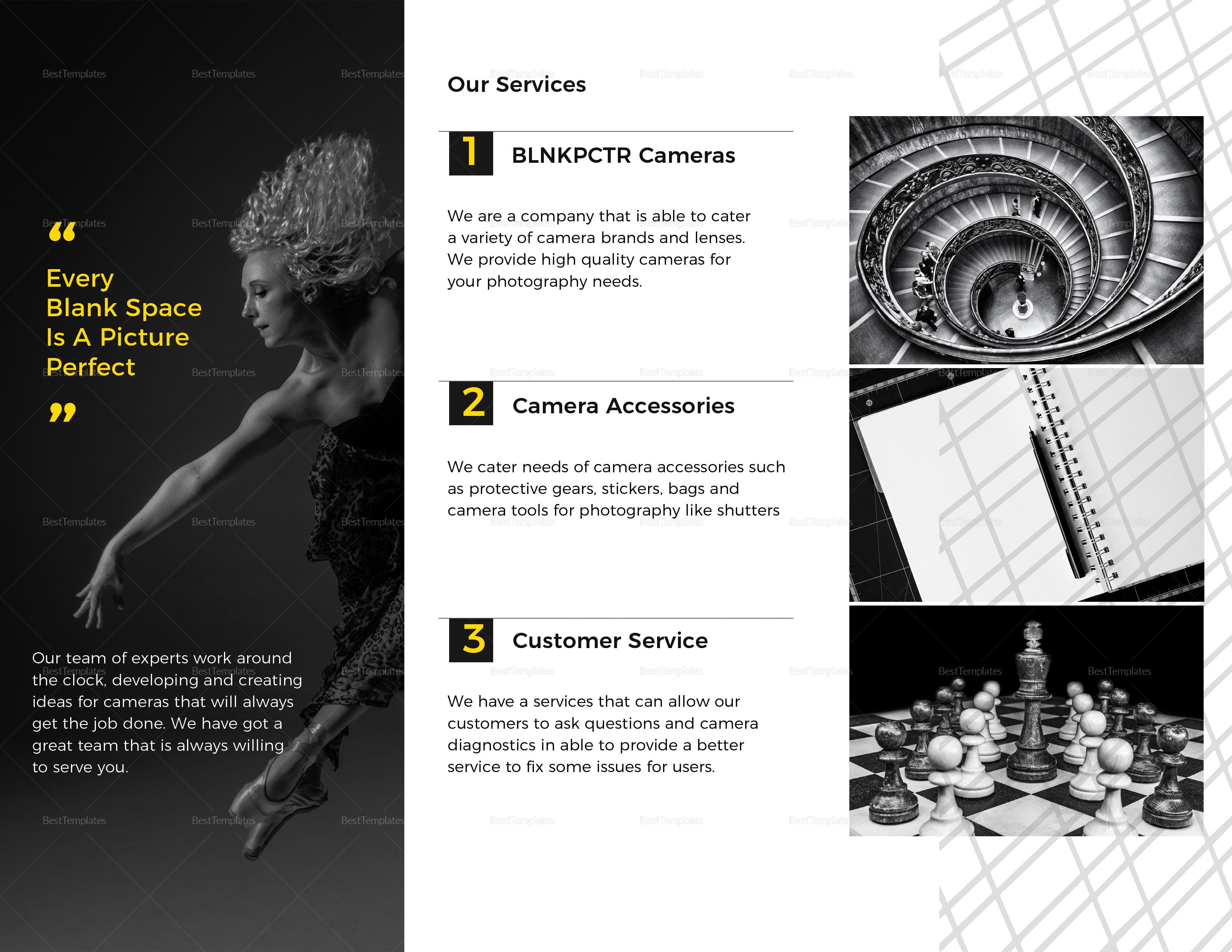 Blank Photography Tri-fold Brochure to Print