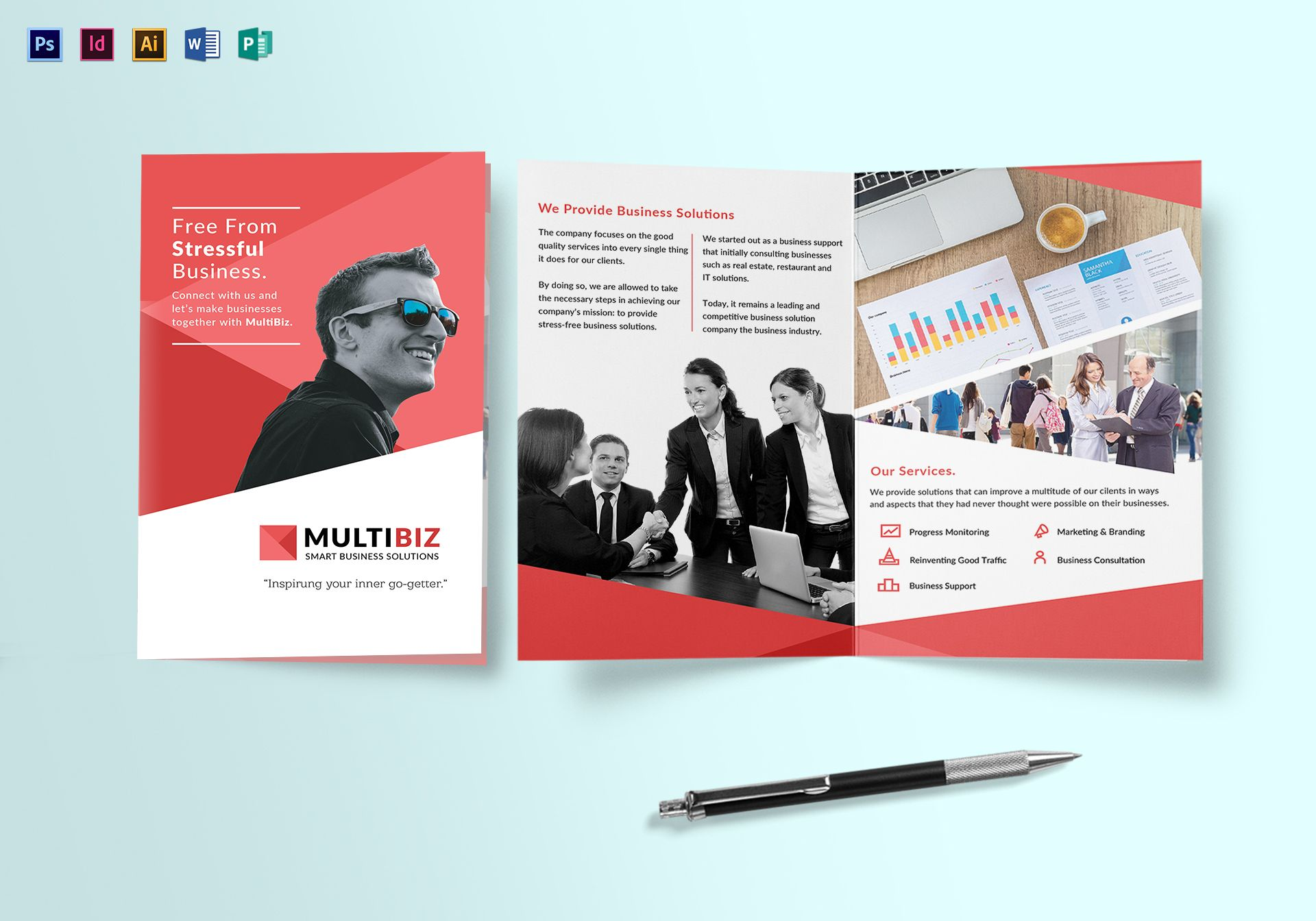 multipurpose business bi fold brochure design template in psd word