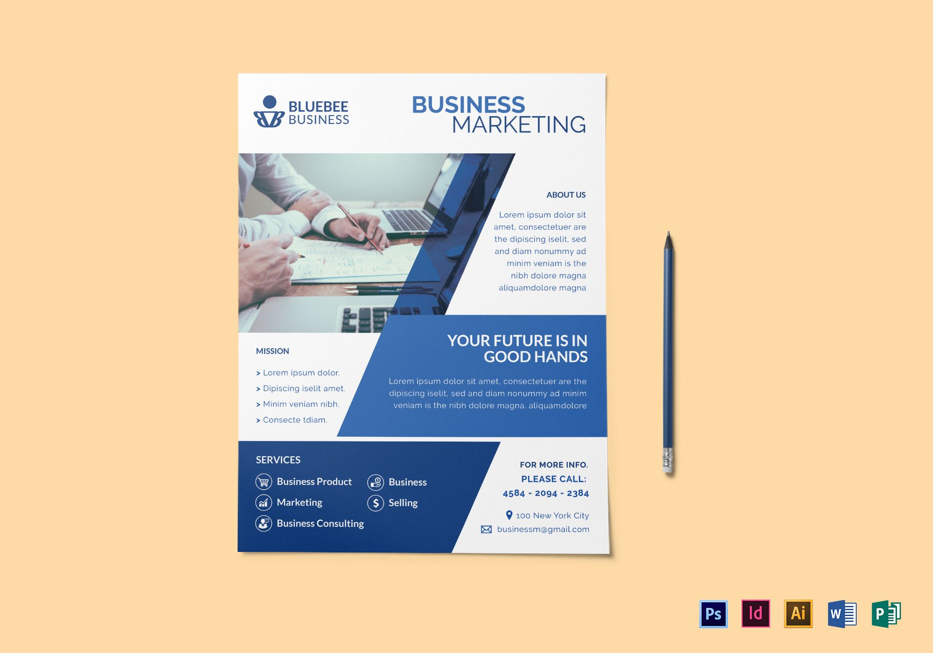 creative business marketing flyer design template in psd word
