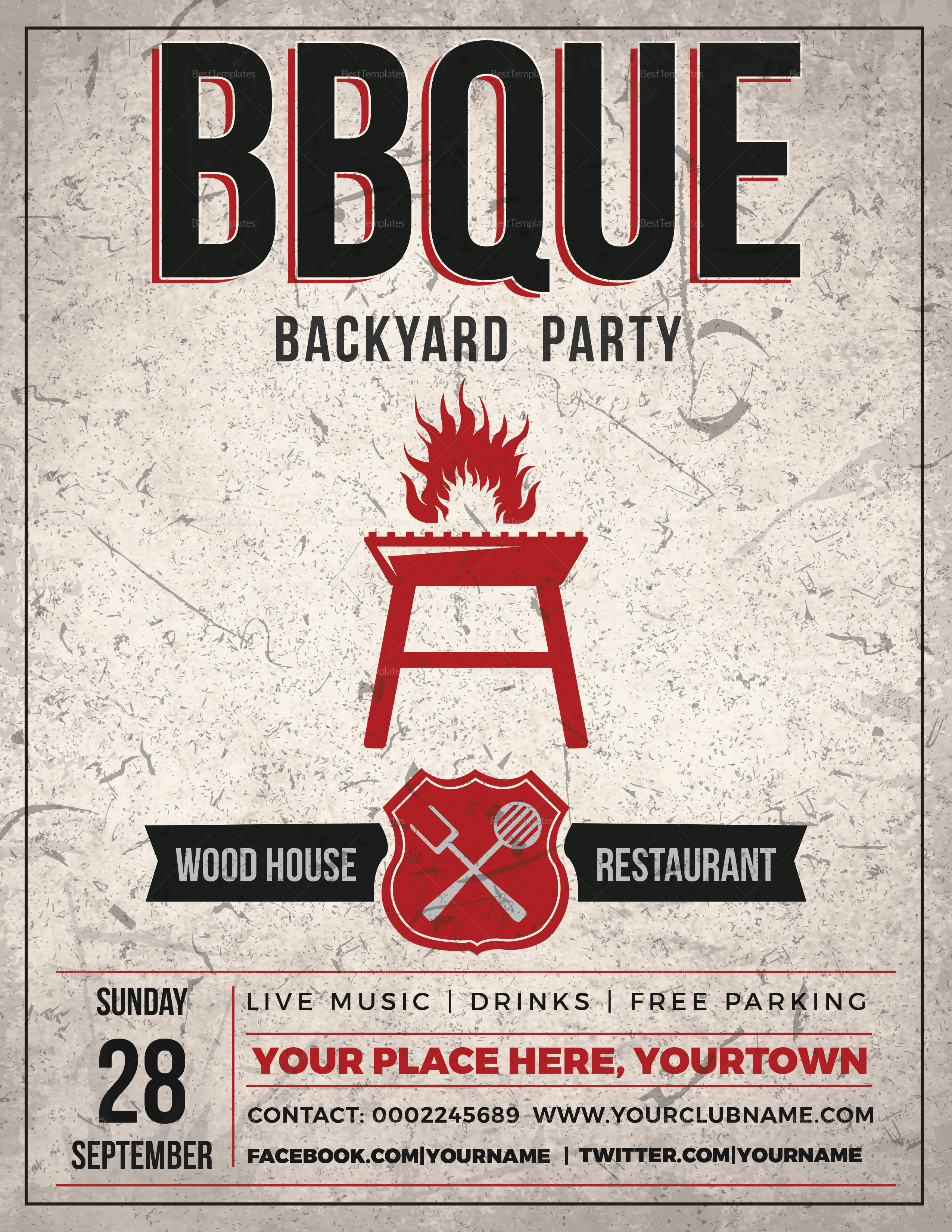 Backyard Bbq Event Flyer Design Template In Psd Word Publisher