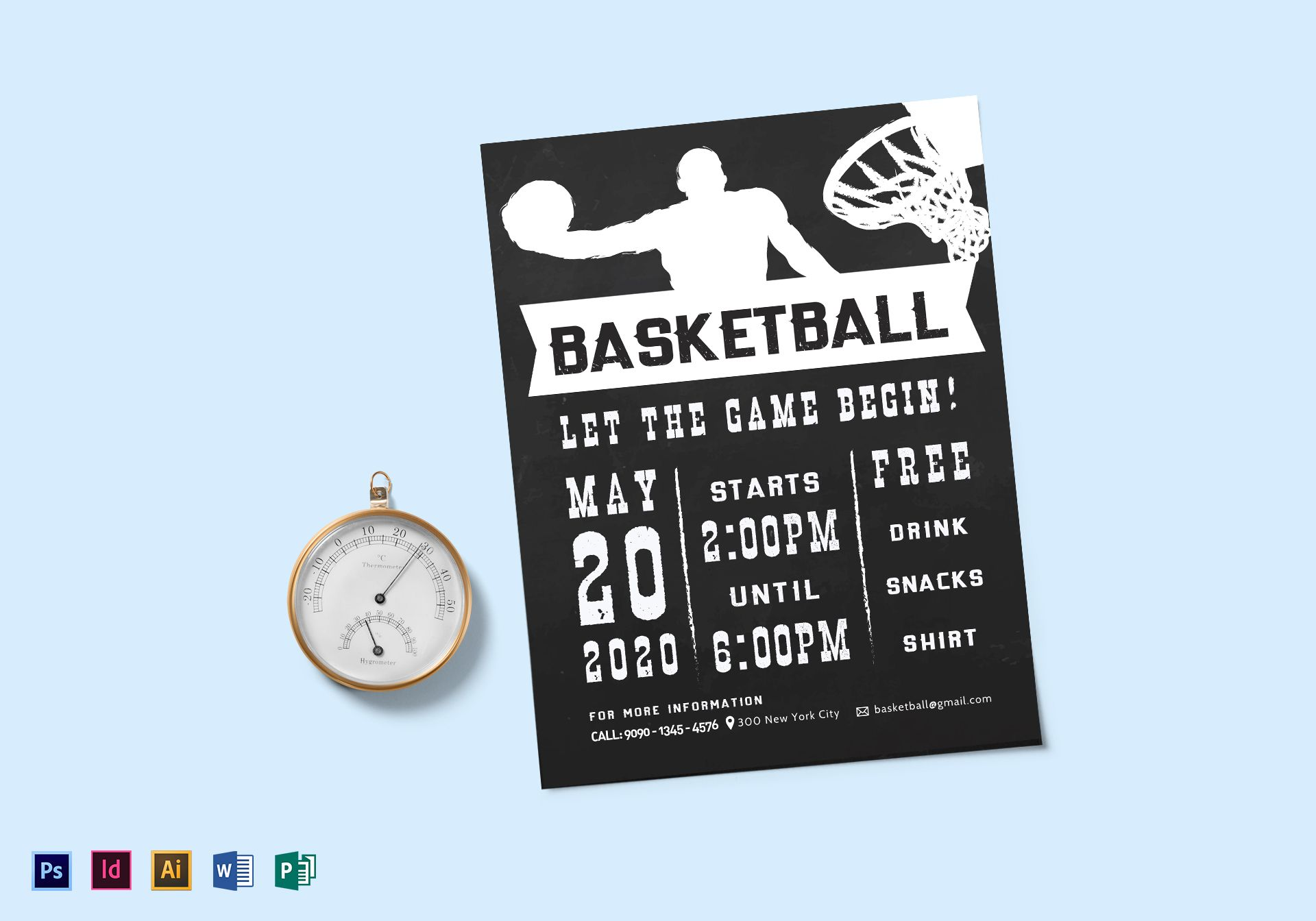 Chalkboard Style Basketball Flyer