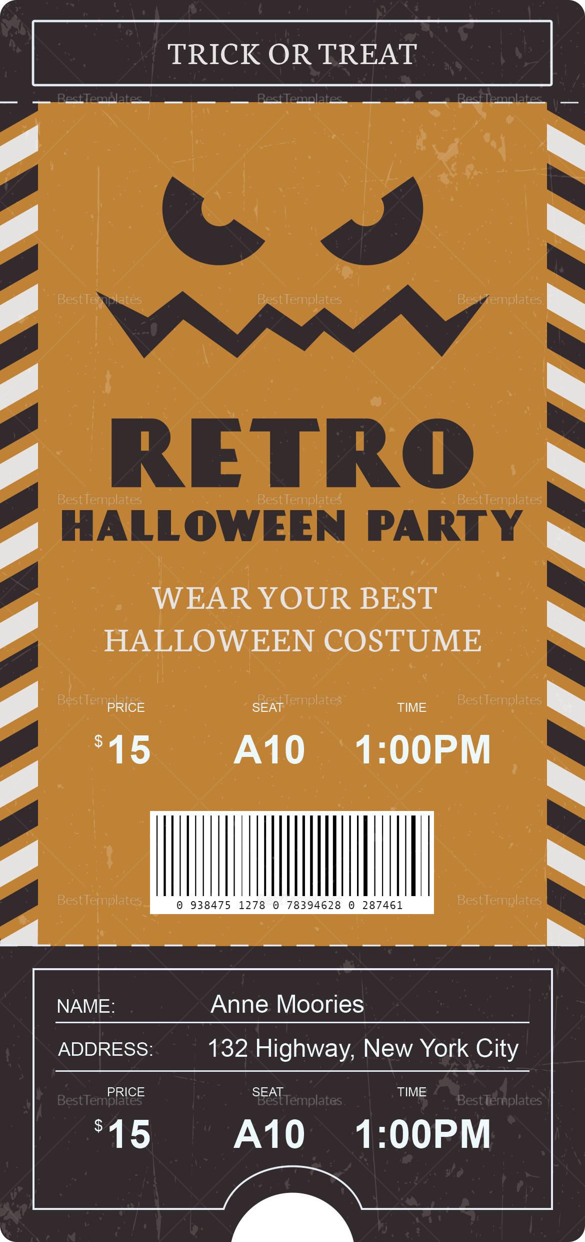 Halloween Party Retro Ticket