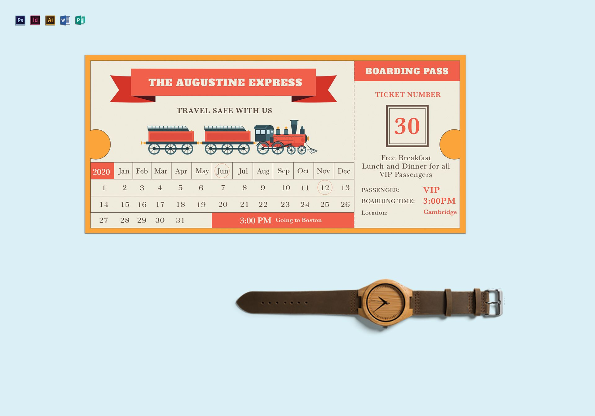 Vector Train Ticket