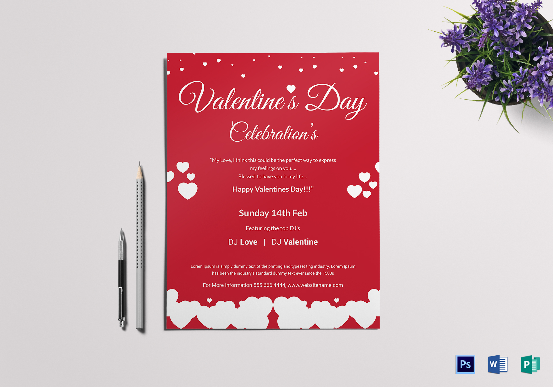 Valentine Day Celebrations Flyer Design Template in PSD, Word, Publisher