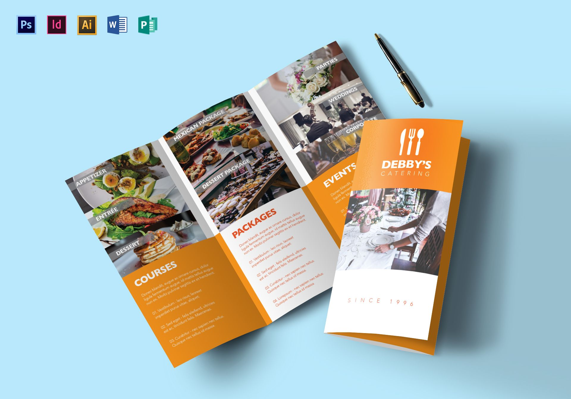 Catering Service Brochure Design Template in PSD, Word, Publisher ...